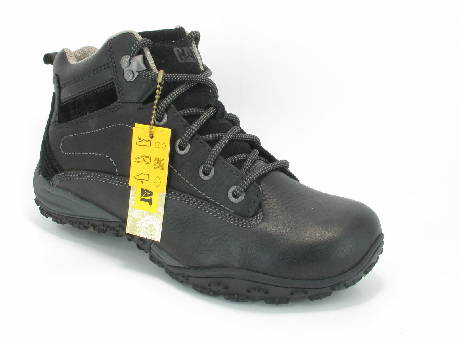 caterpillar avail black mens walking hiking leather ankle
