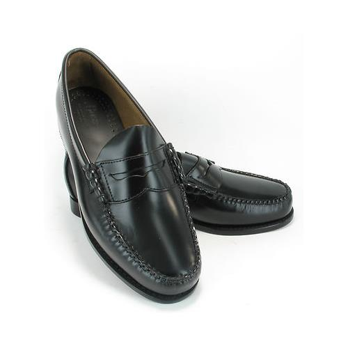 Mens-Bass-Black-Leather-Retro-Penny-Loafers-Slip-On-Shoes-MOD-SKA-size-9-10-11