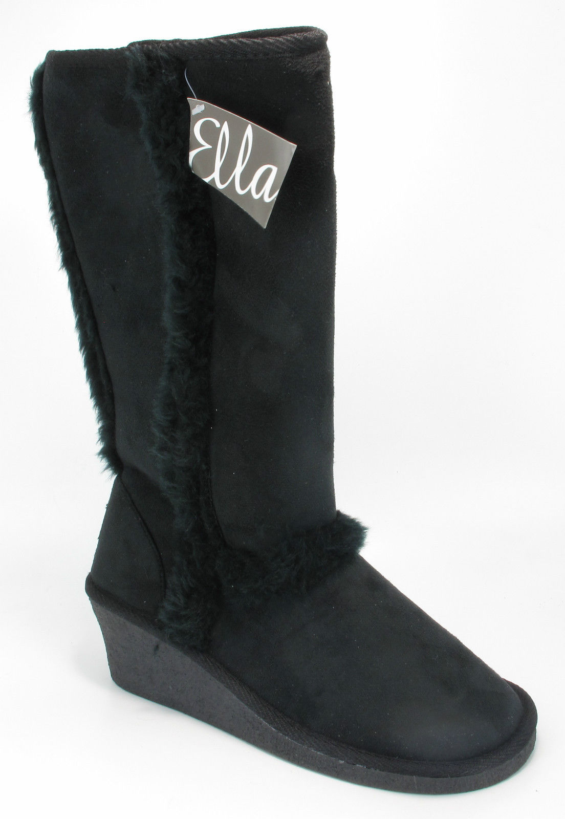 womens ella faux fur lined suede winter wedge boots