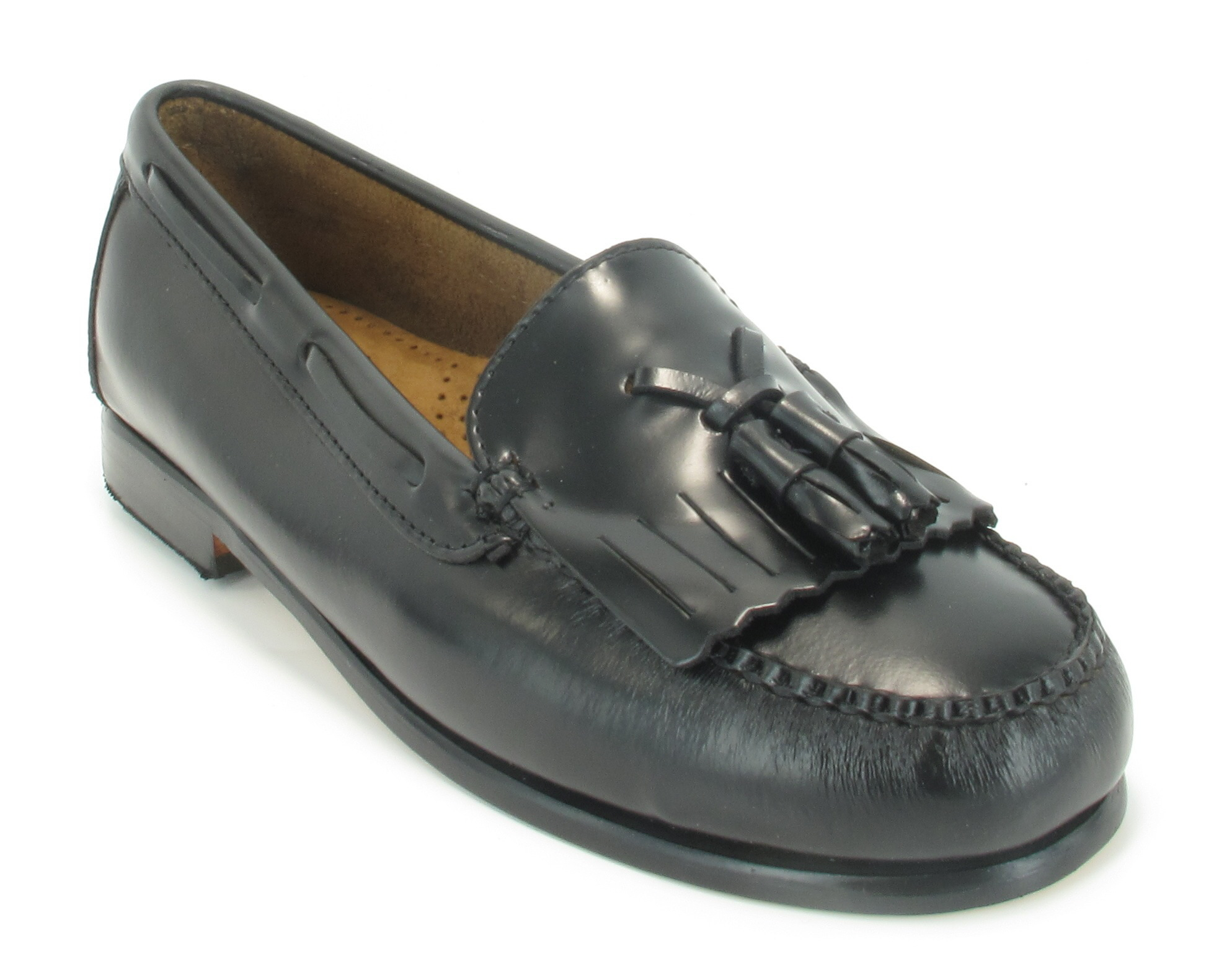 Womens-GH-Bass-Black-Leather-Tassel-Retro-Loafers-Slip-On-Shoes-MOD