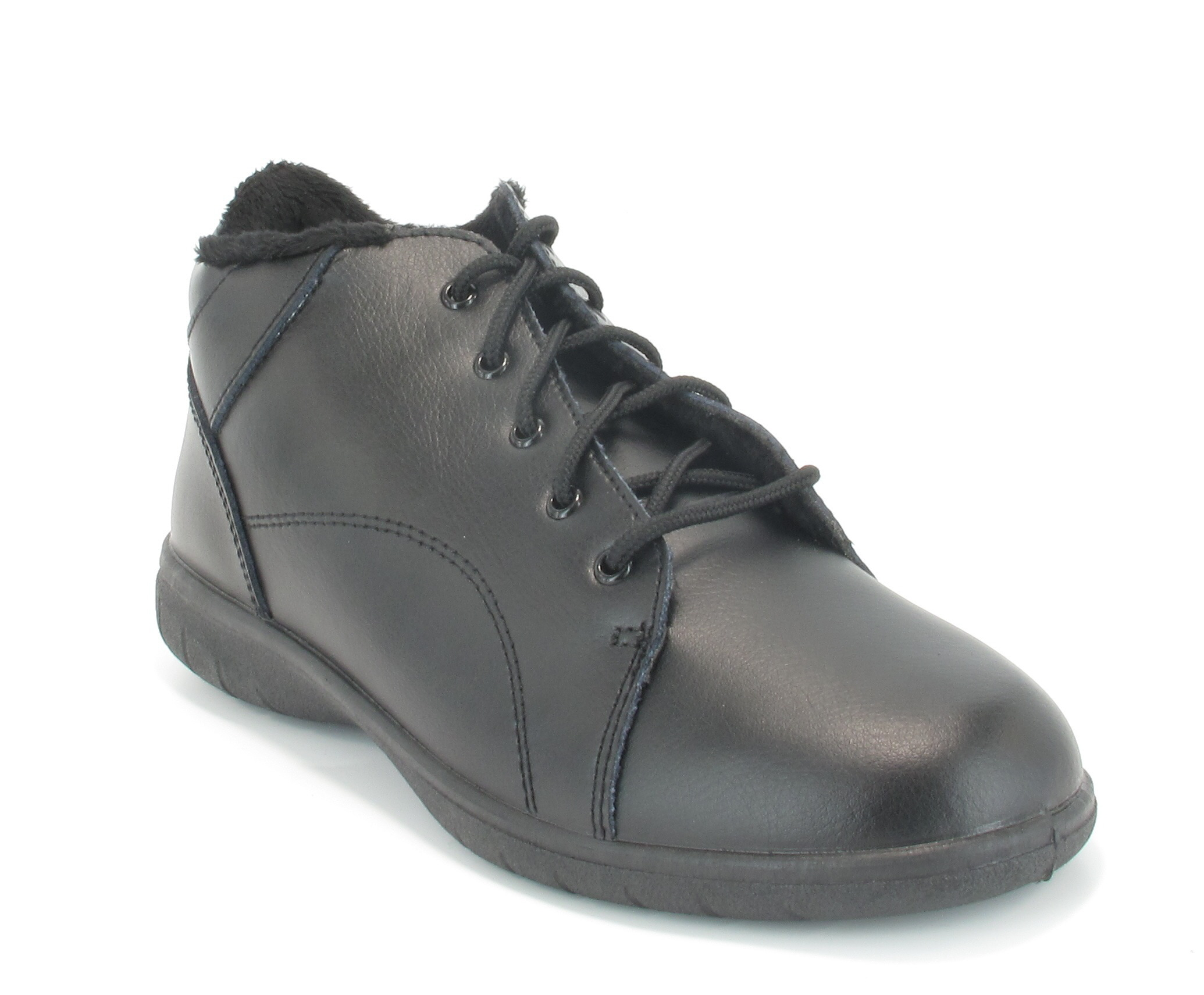 womens freestep black leather lace up low wedge ankle