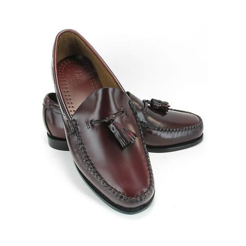 Mens-Bass-Burgundy-Leather-Tassel-Retro-Loafers-Slip-On-Shoes-MOD-size-8-9-10-11