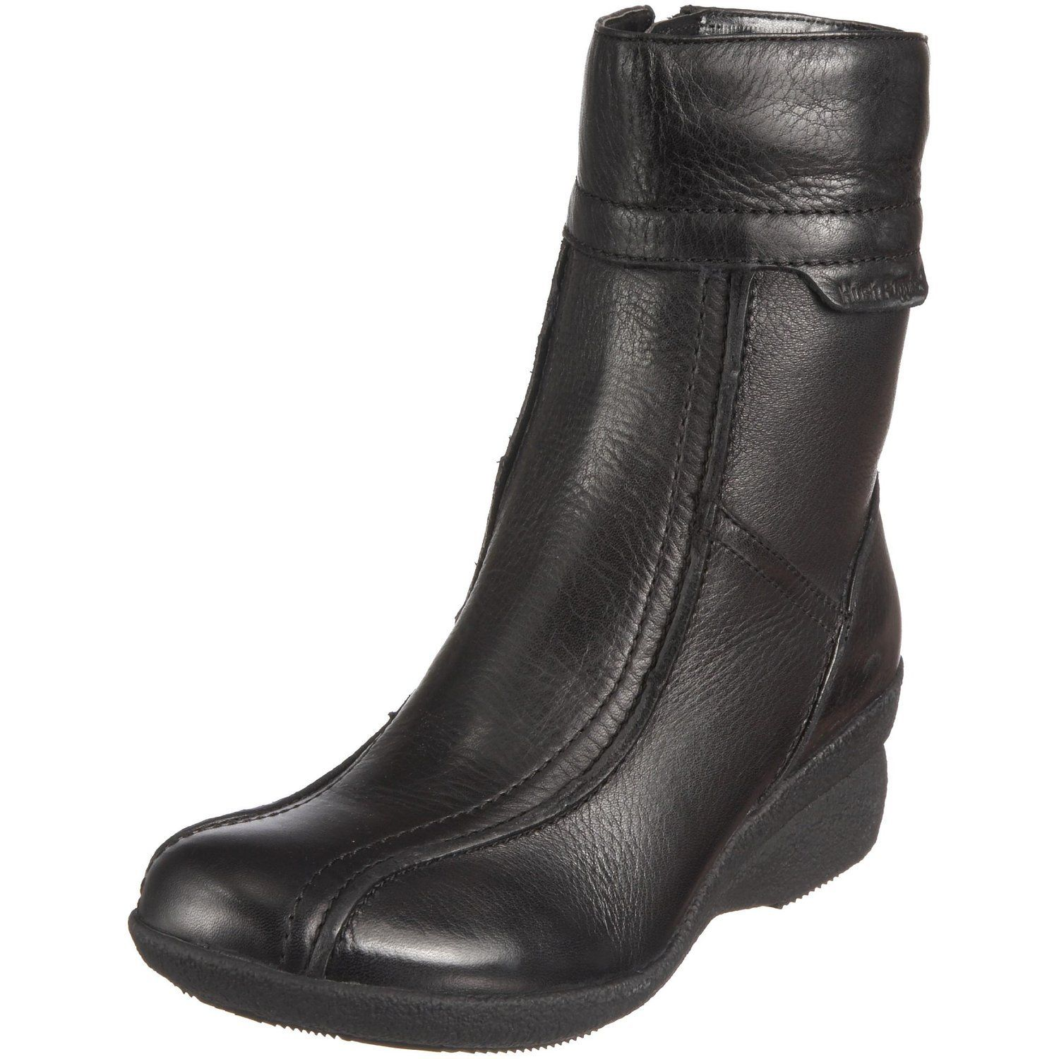 hush puppies yokiko womens black leather zip up ankle