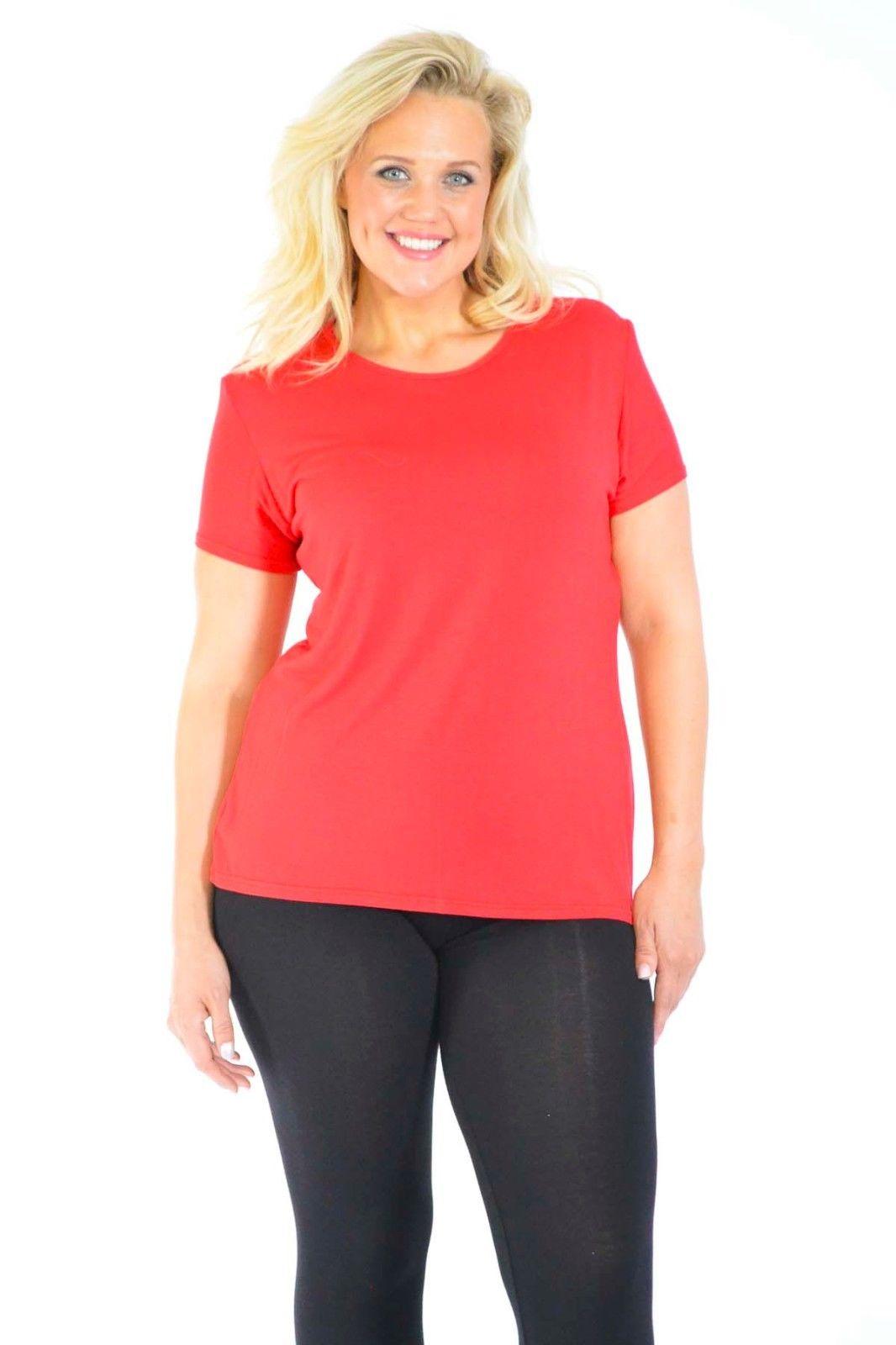 New Womens T-Shirt Plus Size Ladies Plain Top Tunic Short ...