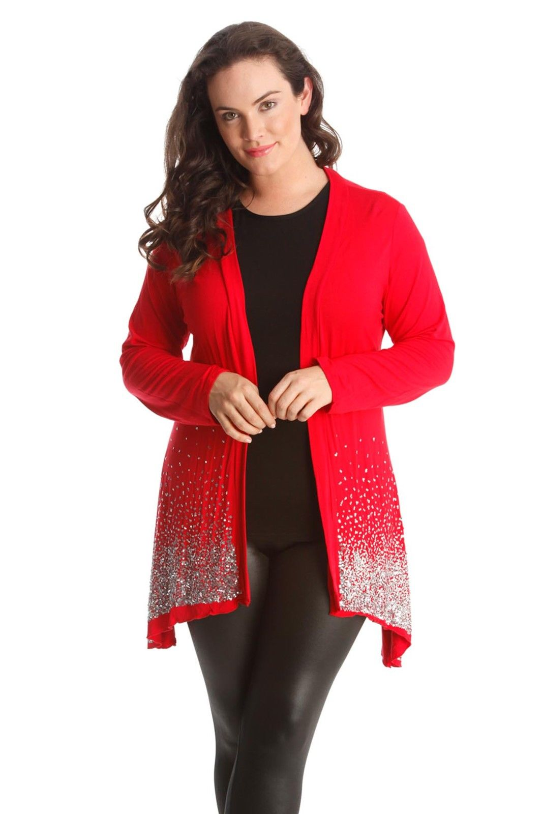 New Ladies Plus Size Cardigan Womens Sequin Border Glitter Long ...