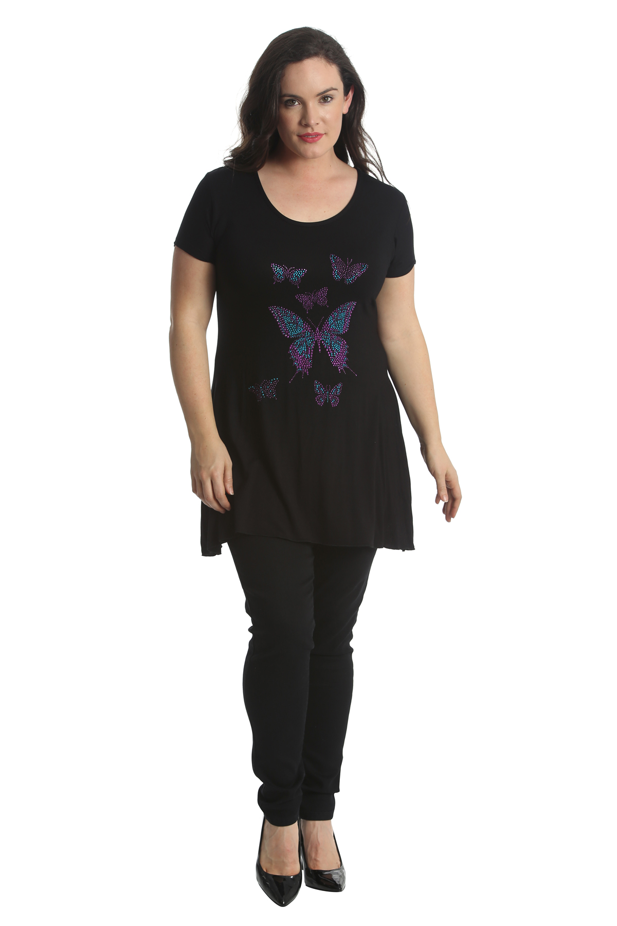 New Ladies Tops Womens Plus Size Butterfly Rhinestone Stud Shirt Nouvelle 14-28