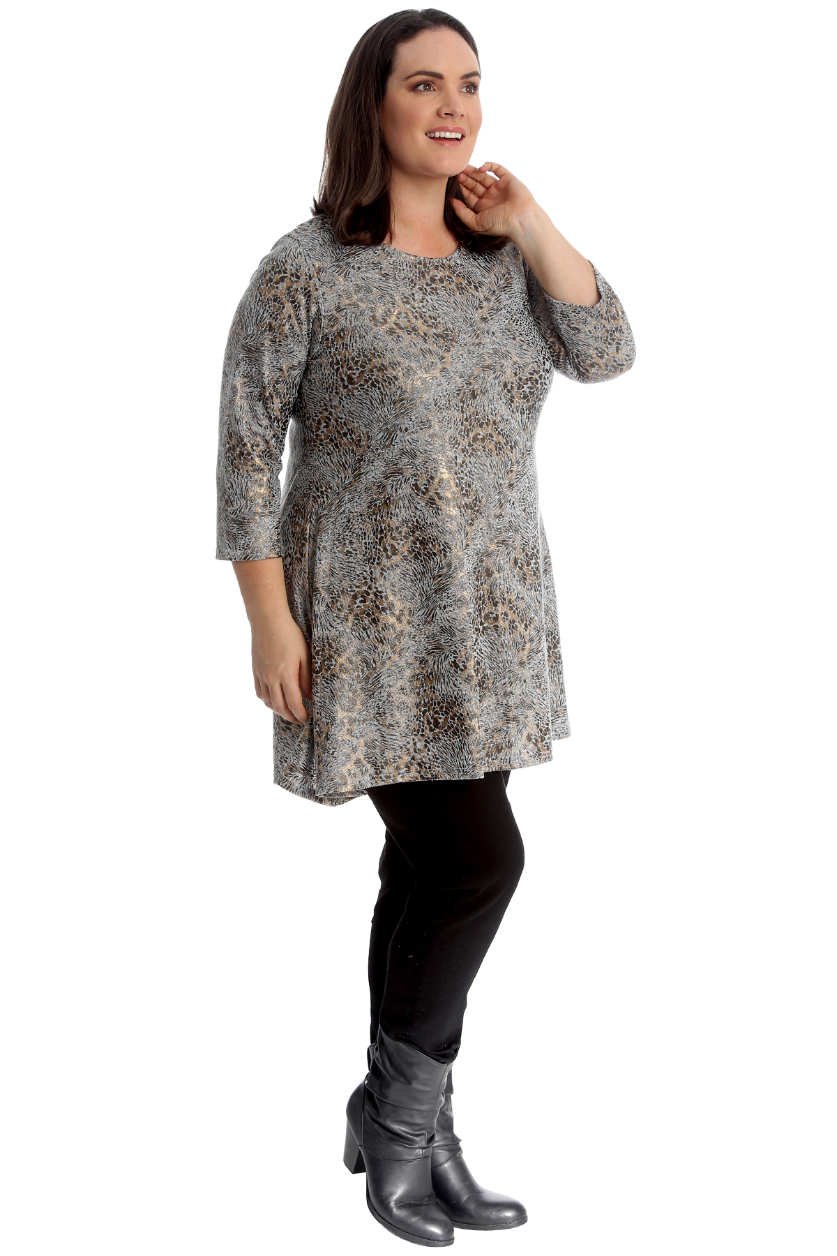 New Women Plus Size Swing Top Ladies Tunic Leopard Print Shine Gold A-Line Style