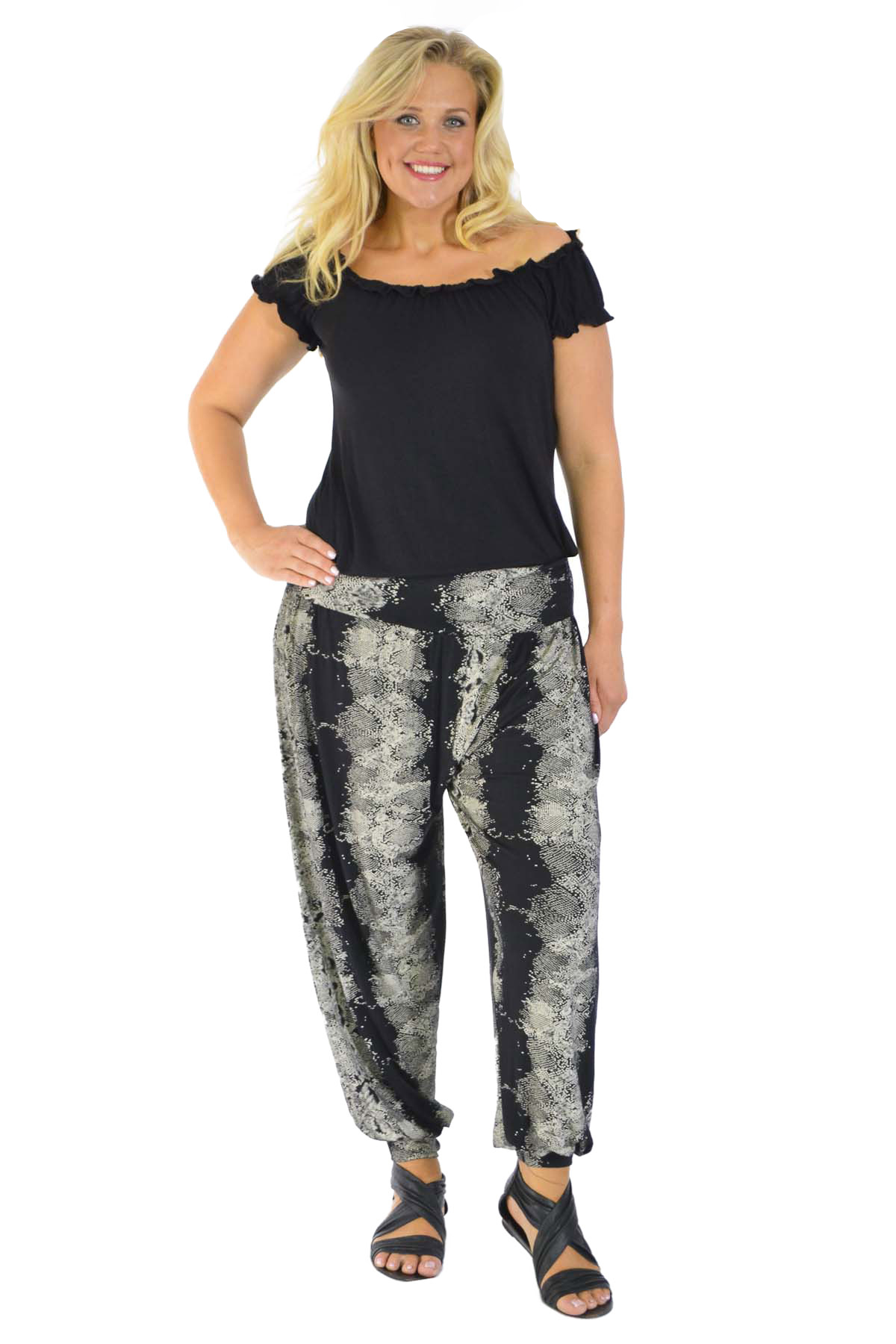 New Womens Harem Trousers Plus Size Snake Skin Print Long Ali Baba Yoga Nouvelle