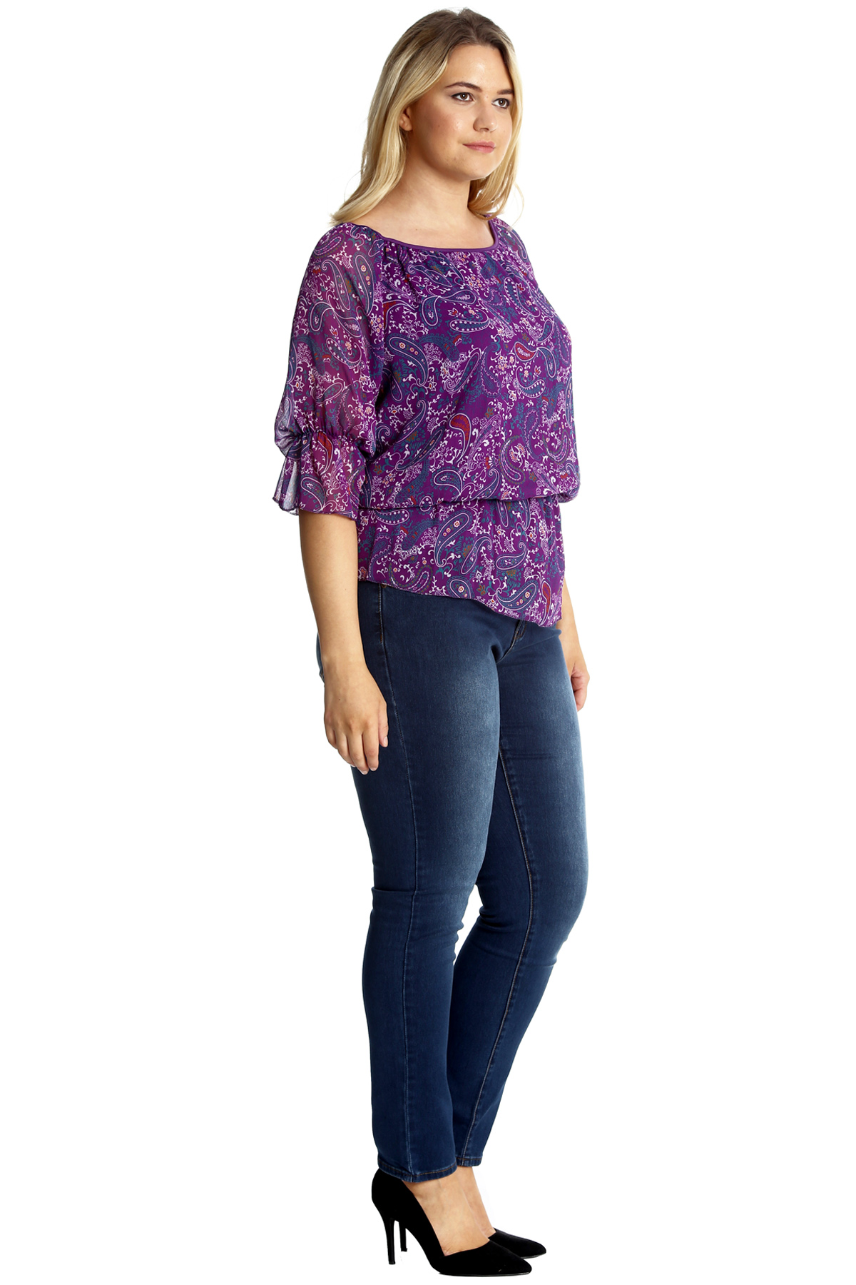 New Ladies Paisley Print Plus Size Top Womens Gypsy Tunic Elastic Frill Nouvelle