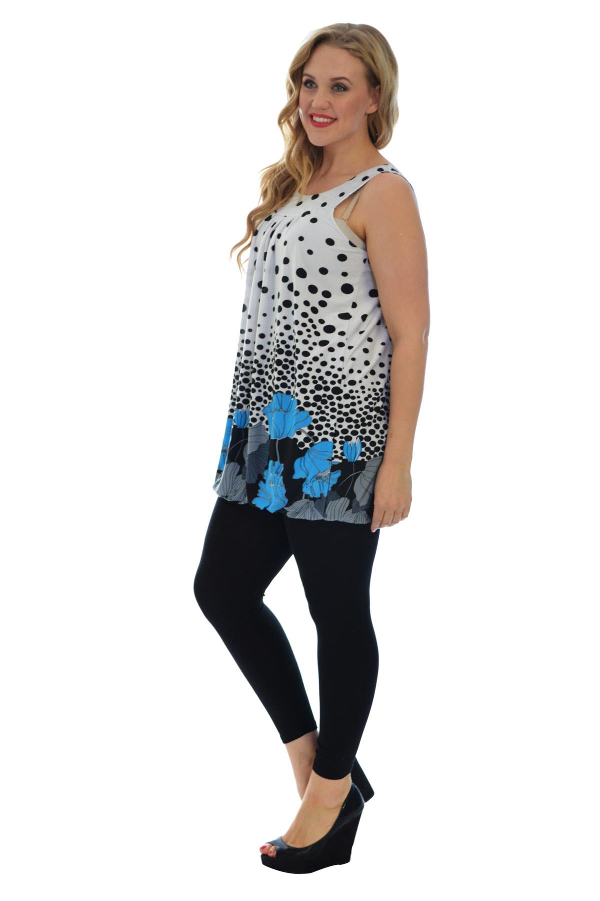 New Womens Top Floral Print Bubble Hem Polka Dot Sleeveless Plus Size Nouvelle