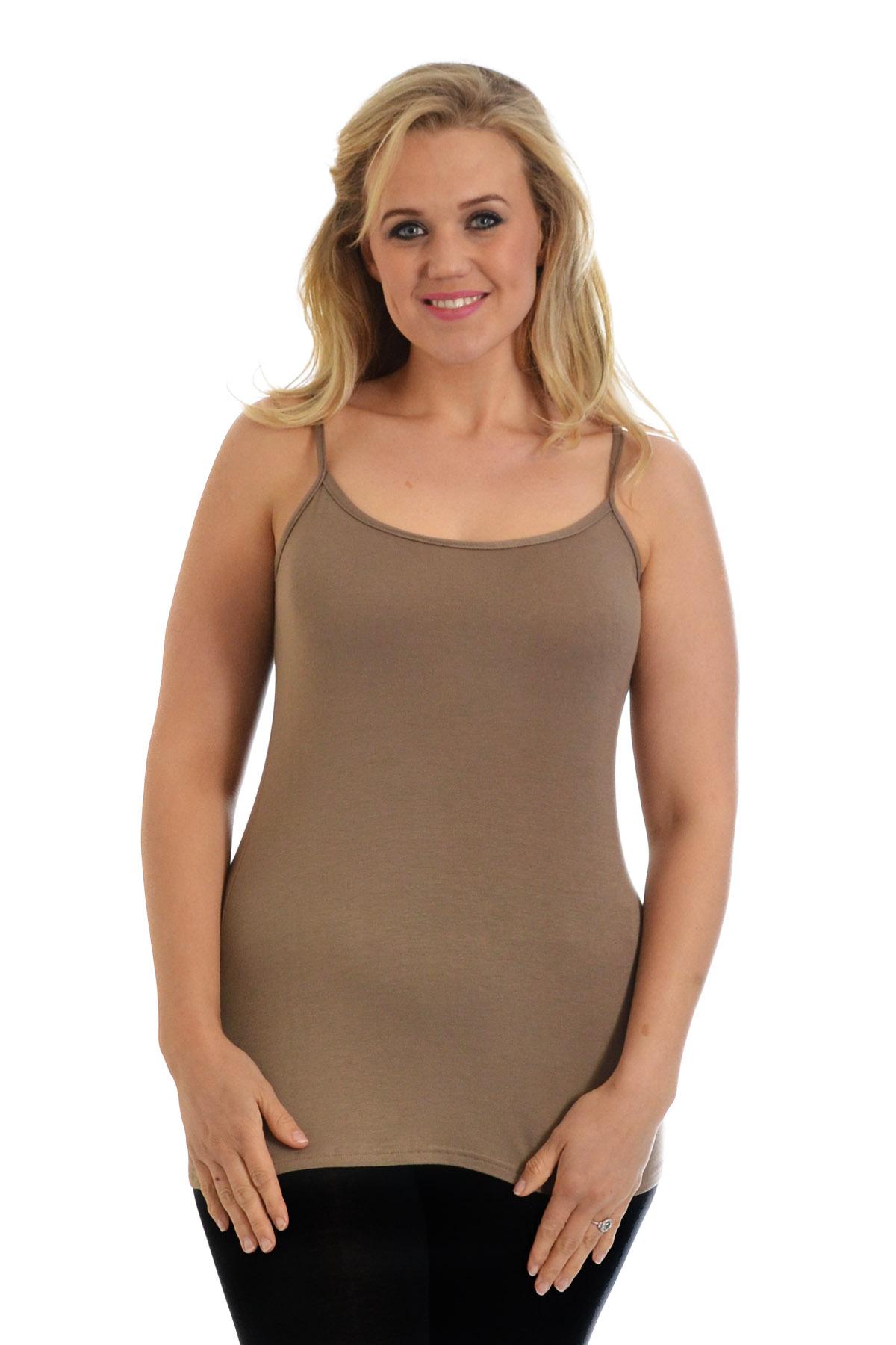 New Womens Vest Ladies Plus Size Strap Tank Top Plain Cami ...