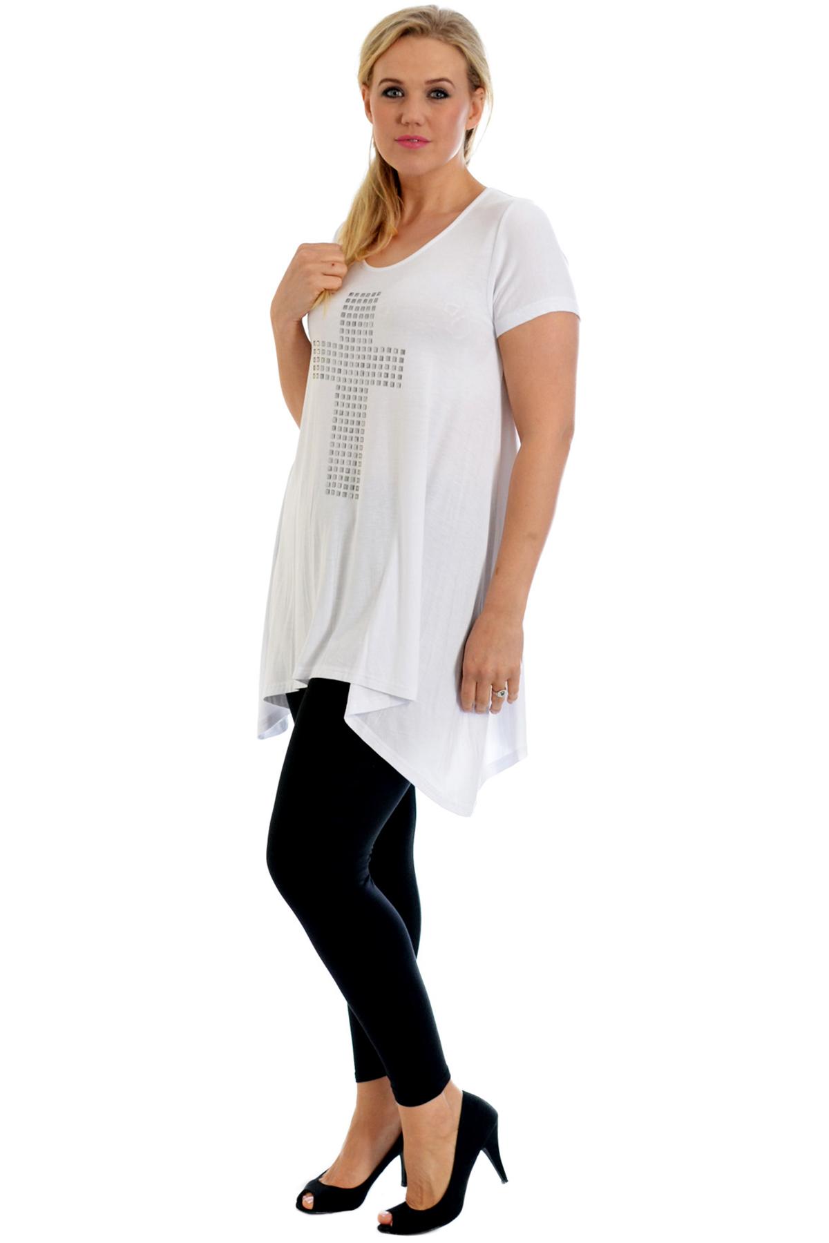 New Womens Top Plus Size Ladies Cross Stud T-Shirt A-Line Gothic Party Nouvelle