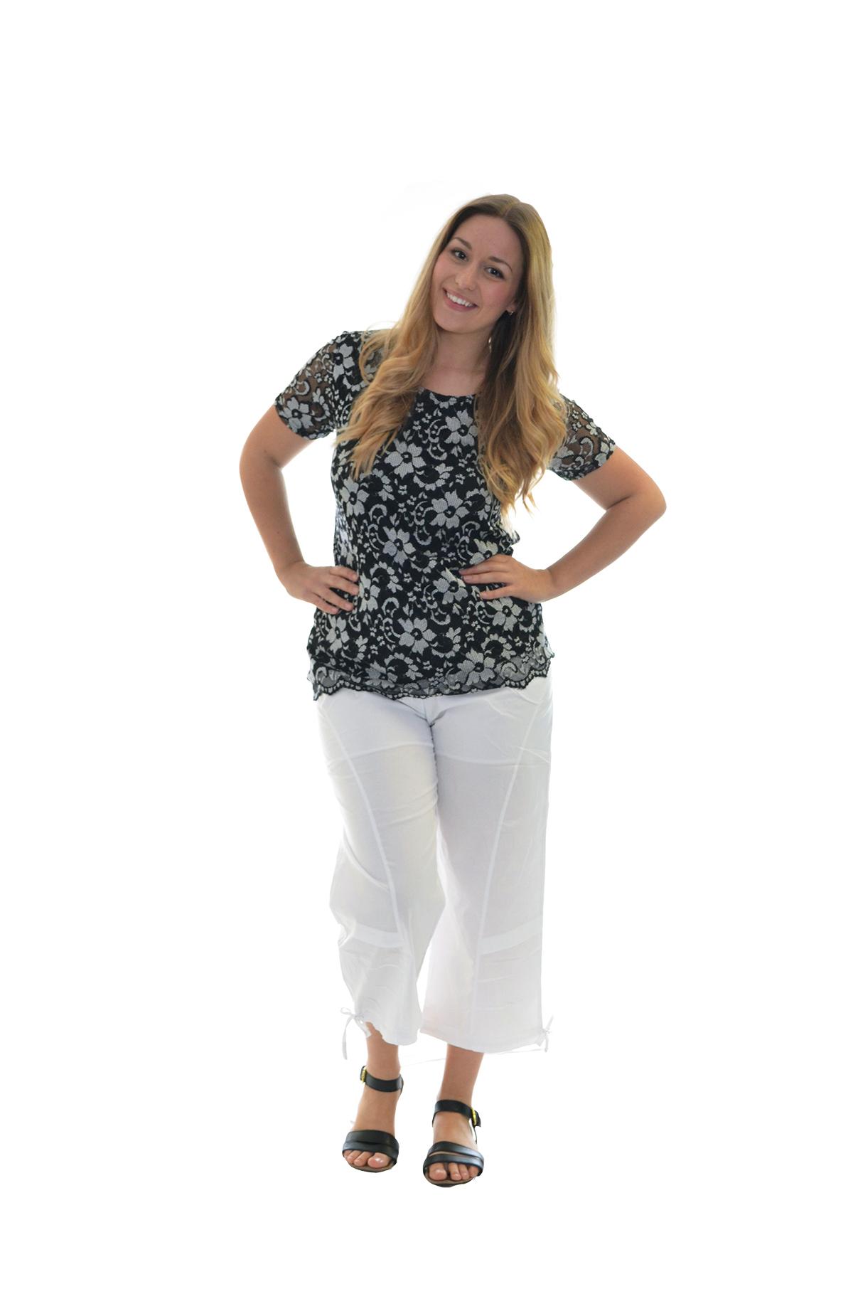 Ladies Cropped Pants Cotton Elasticated Capri Trousers Womens Summer Plus Size