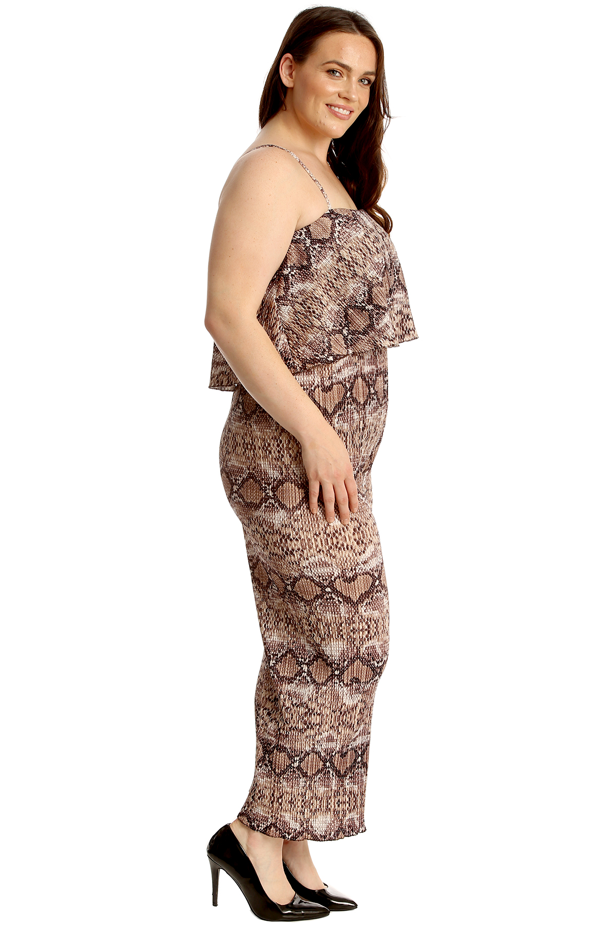 New Womens Plus Size Jumpsuit Ladies Snake Skin Print Frill Top Sleeveless Party