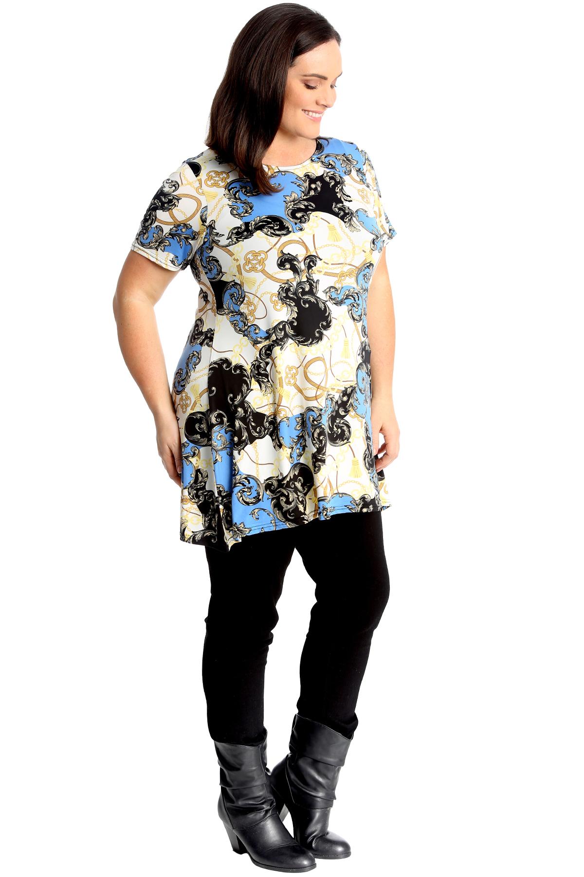Nouveau Haut Plus Taille Haut Femmes Swing Style Chaînes Tassel Abstract Imprimé Tunique