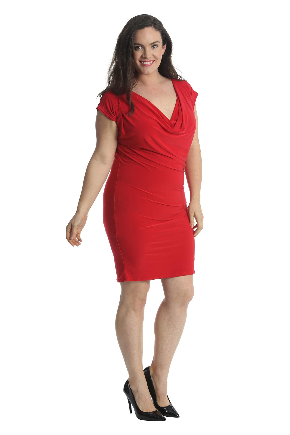 New Womens Plus Size Dress Bodycon Ladies Midi Cowl Neck ... - photo #31