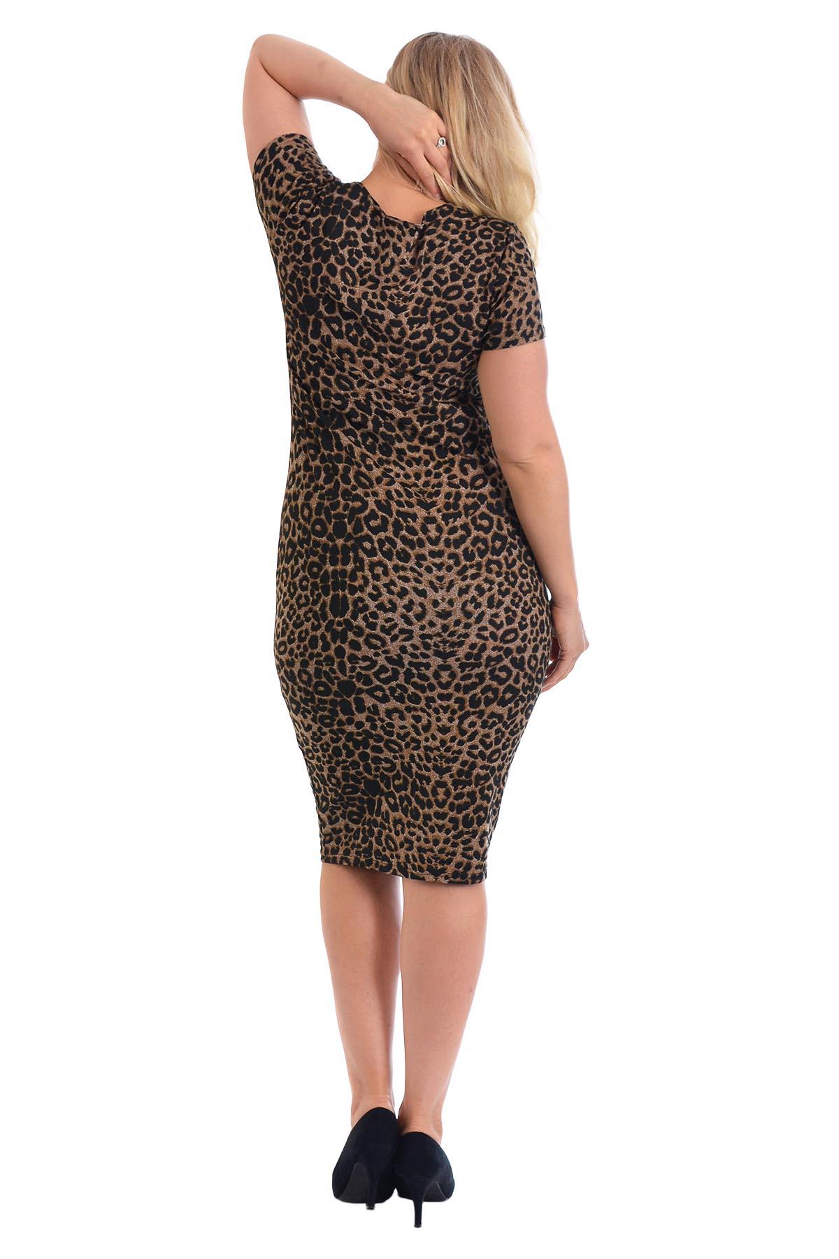 Neu Damen Kleid Übergröße Frau Tunika Ladeis Midi Bodycon Tier Leopard Nouvelle