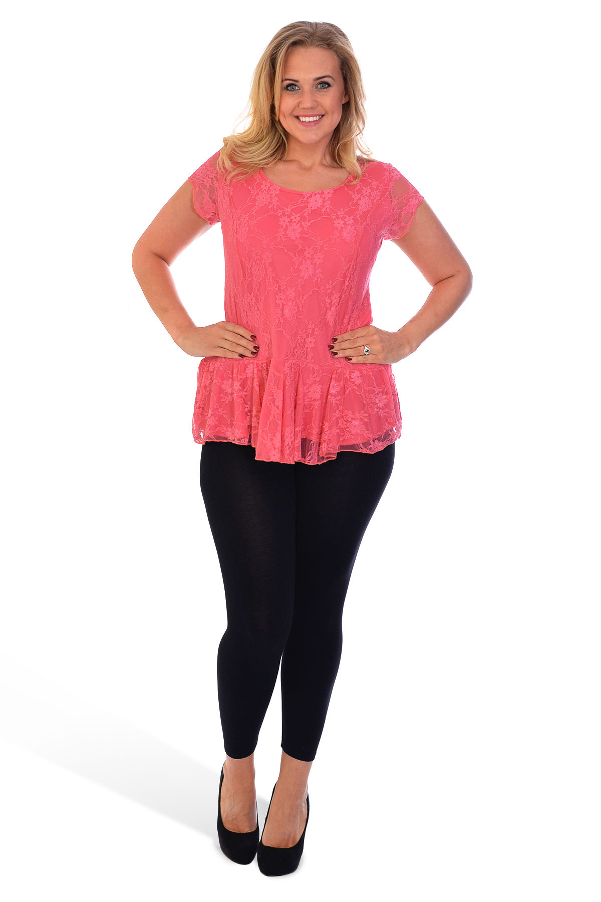 New Womens Plus Size Lace Top Ladies Lined Peplum Style Blouse Sale Nouvelle