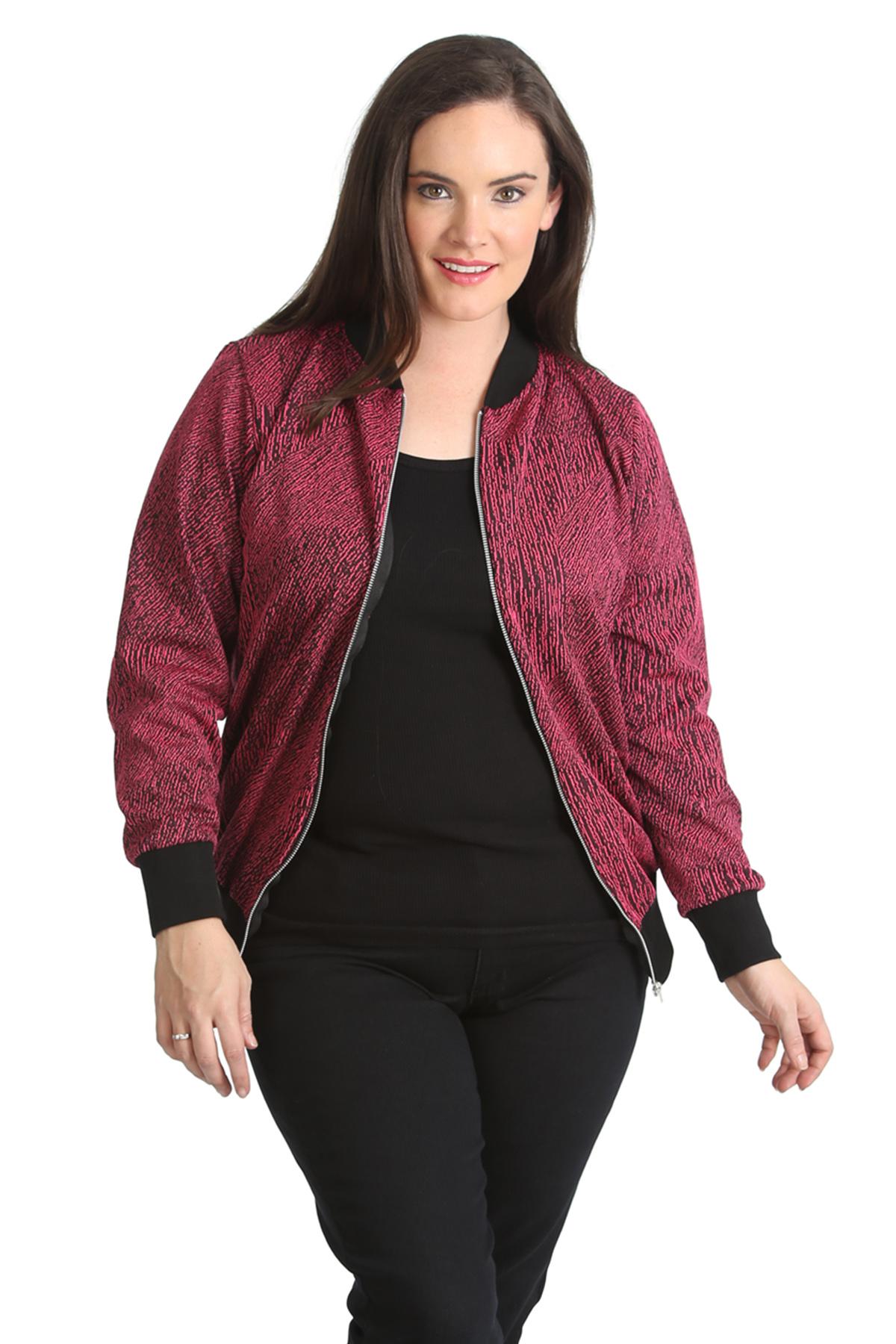 New Ladies Plus Size Bomber Jacket Womens Ribbed Sale Zip ...