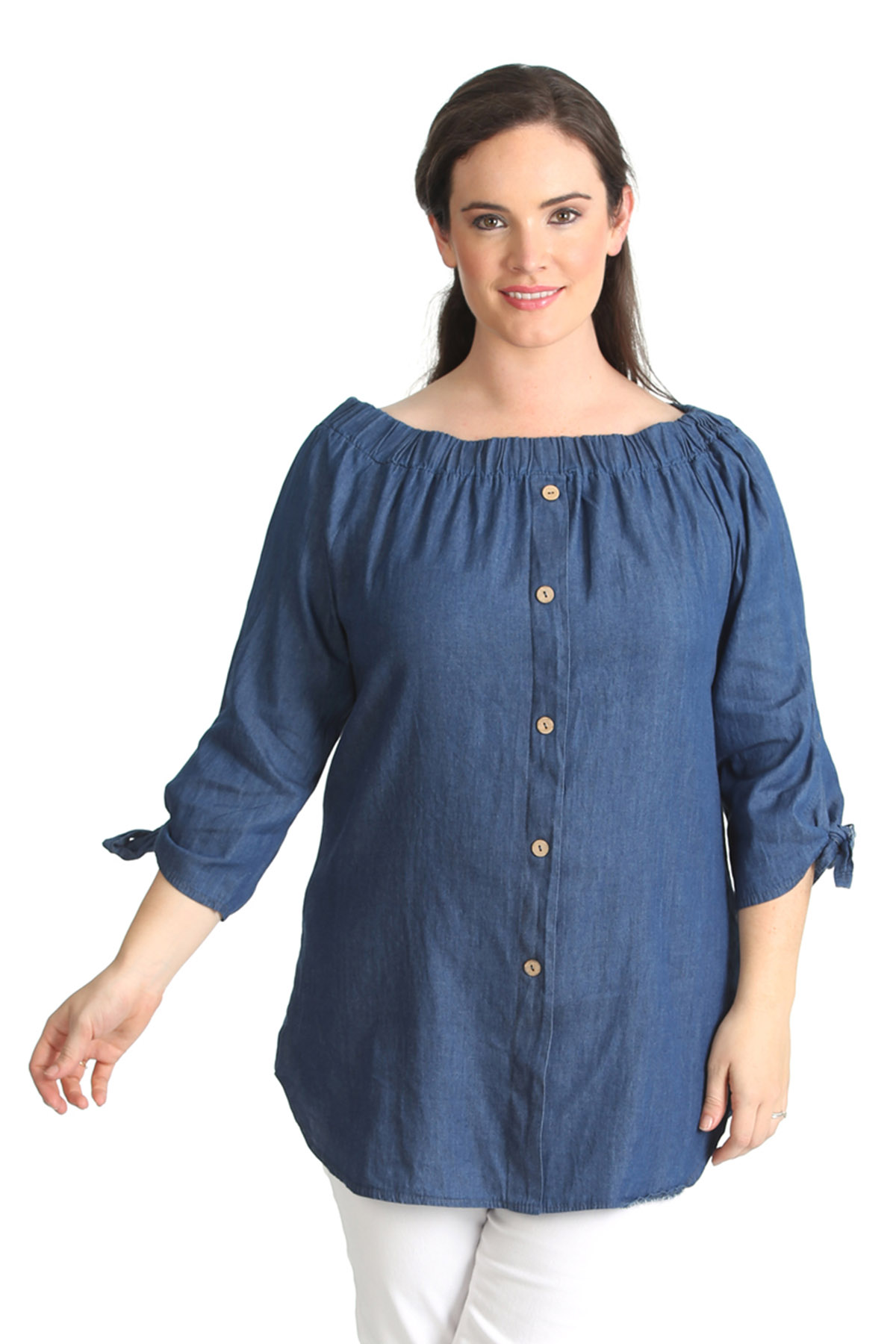 New womens shirt ladies plus size denim look top for Plus size womens shirts