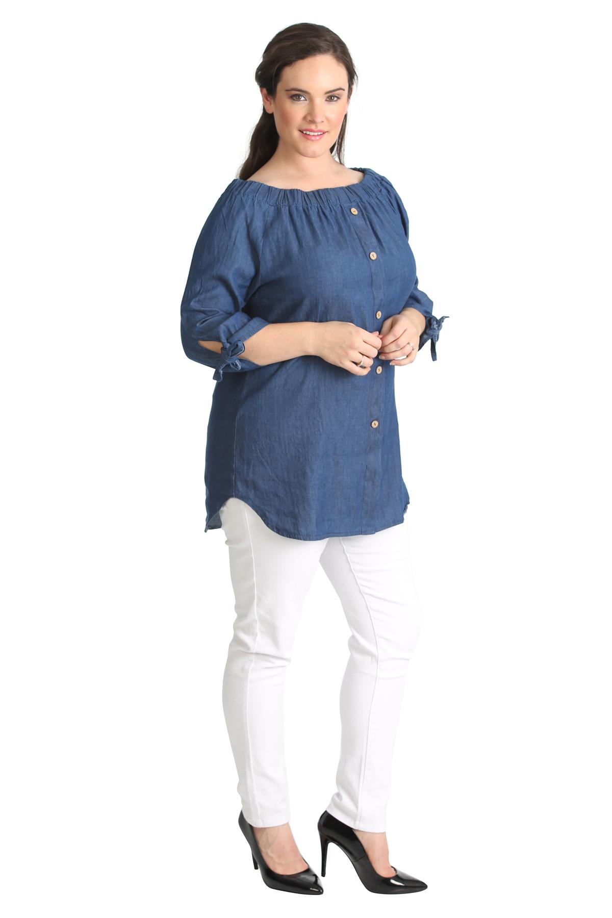 New Ladies Plus Size Top Bardot Button Denim Style Shirt