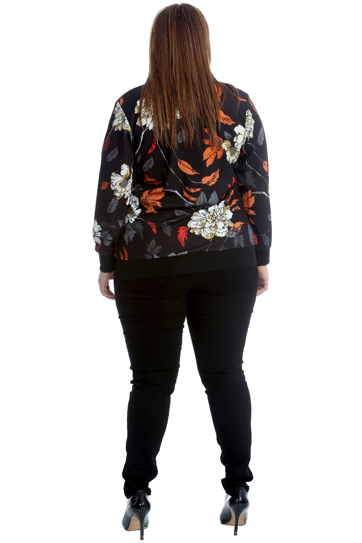 New Ladies Plus Size Bomber Jacket Womens Floral Print Ribbed Crepe Fabric Sale