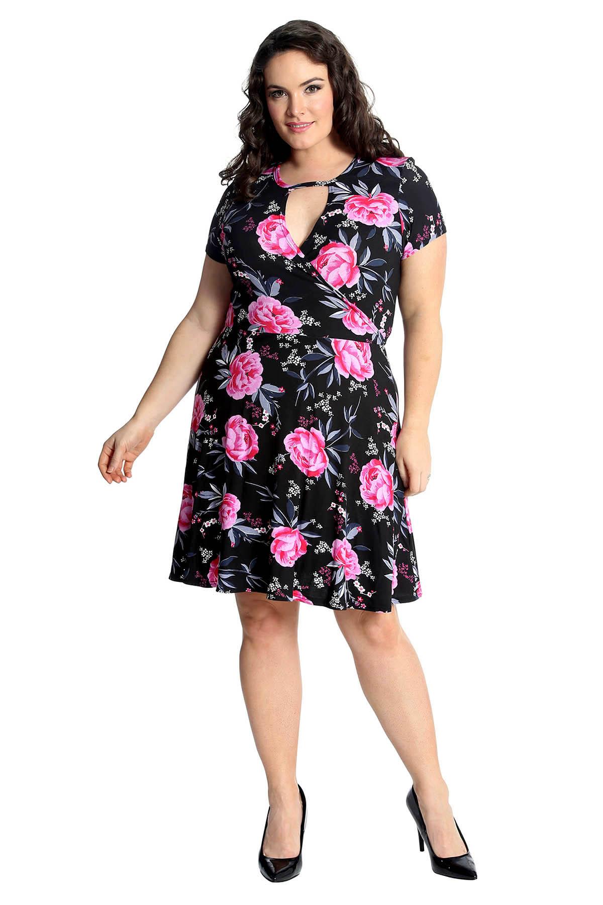 Neu Damen Kleid Übergröße Frauen Rose Blumen Muster Crossover Skater Nouve