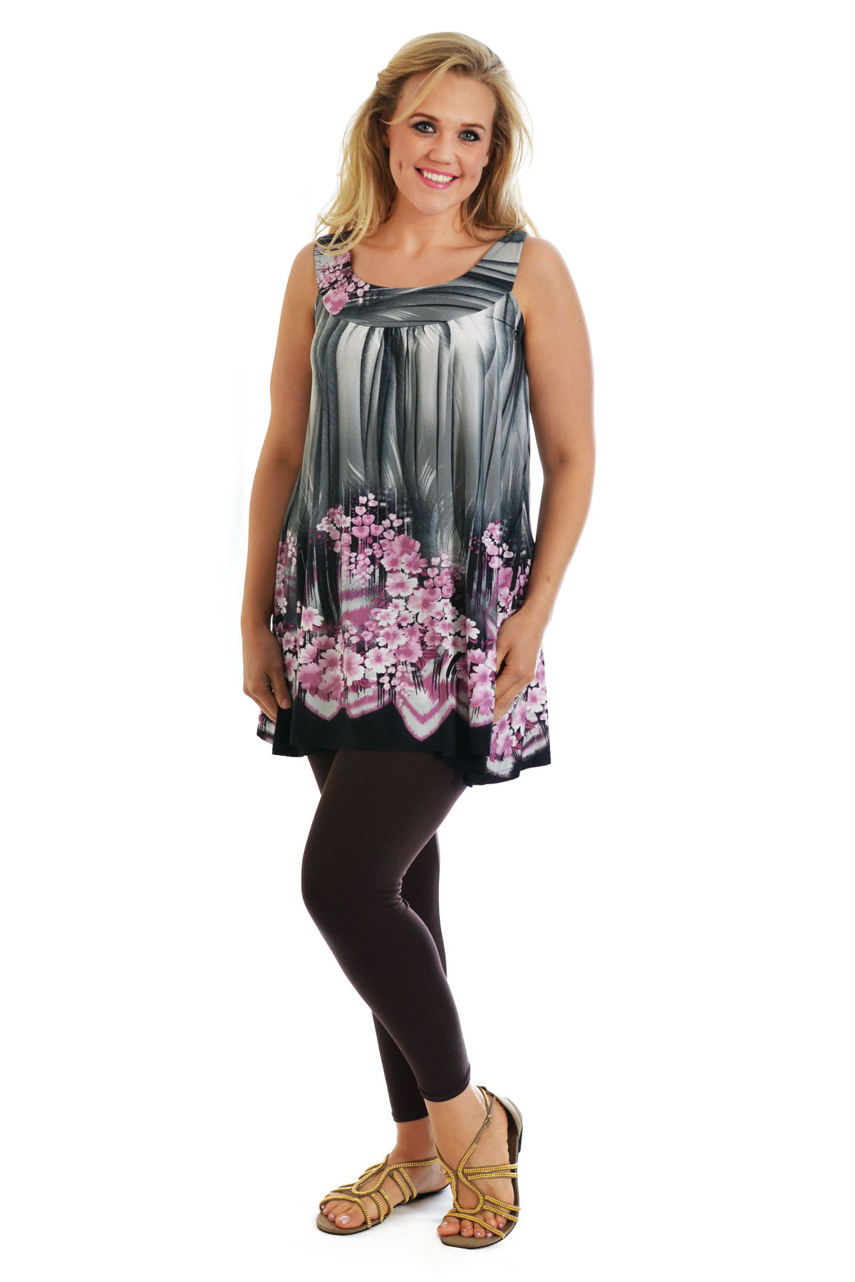 Womens Top Plus Size Ladies Floral Print Asymmetric Tunic Sleeveless Nouvelle