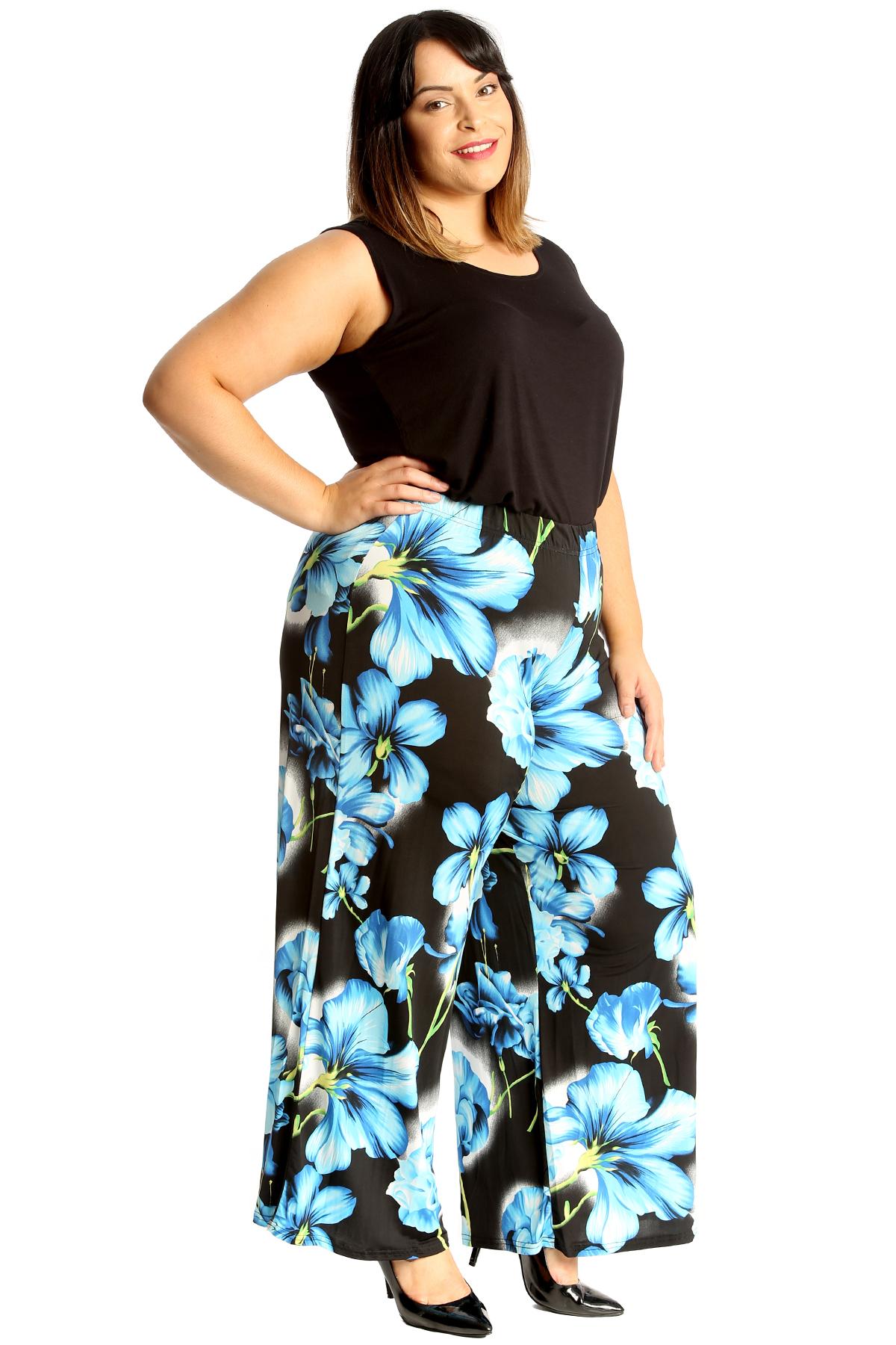 New Ladies Plus Size Trousers Womens Floral Print Palazzo Pant Wide Leg Nouvelle