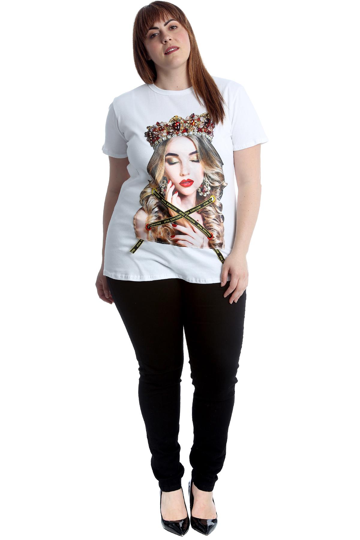 New Womens Plus Size T-Shirt Ladies Graphic Applique Top Cotton Tussles Crown