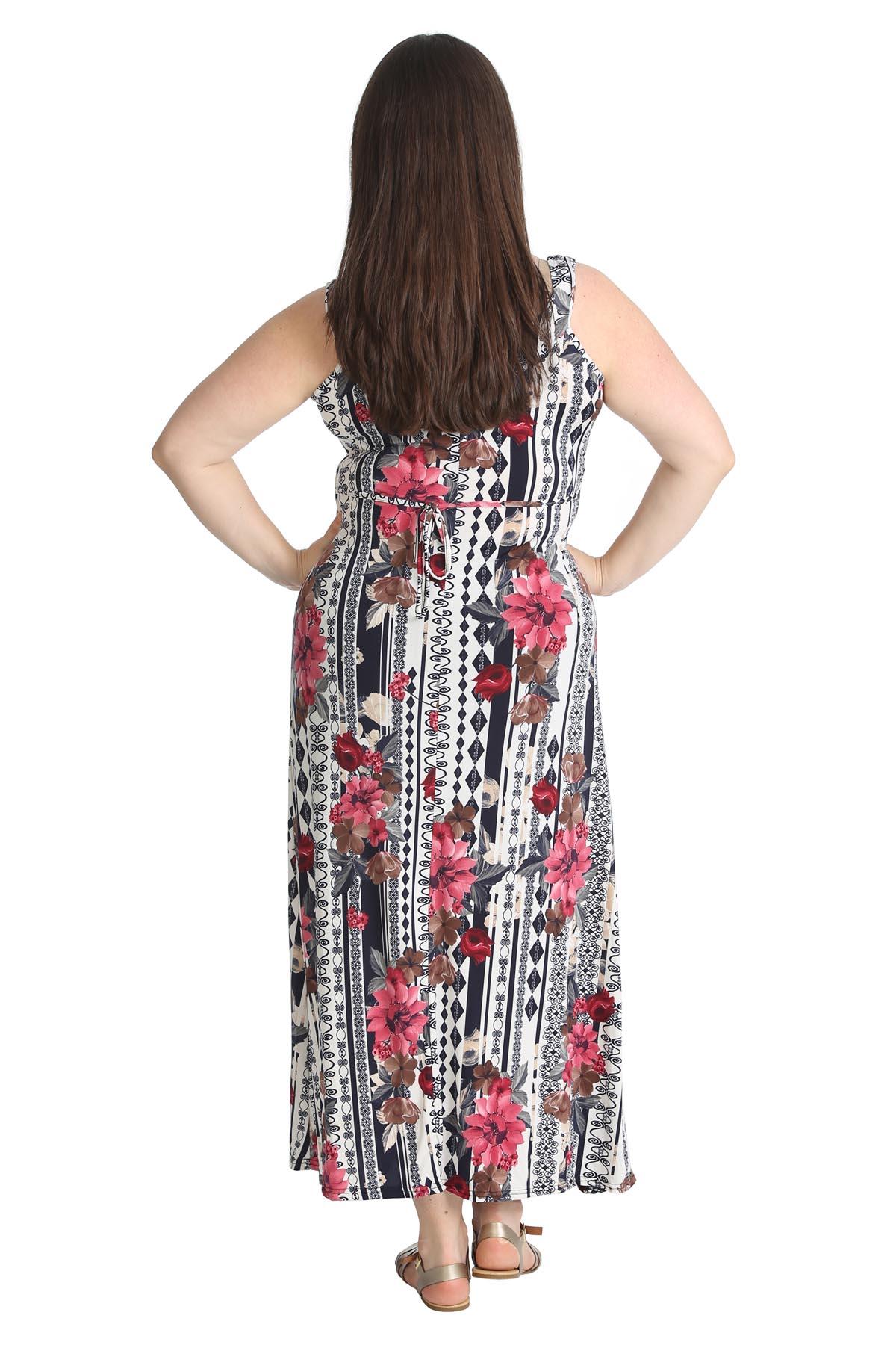 New Ladies Plus Size Maxi Dress Womens Floral Print Full ...