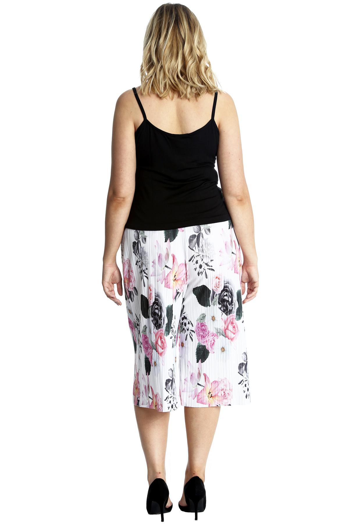 New Womens Plus Size Culottes Ladies Short Floral Print Crinkle Knee Nouvelle