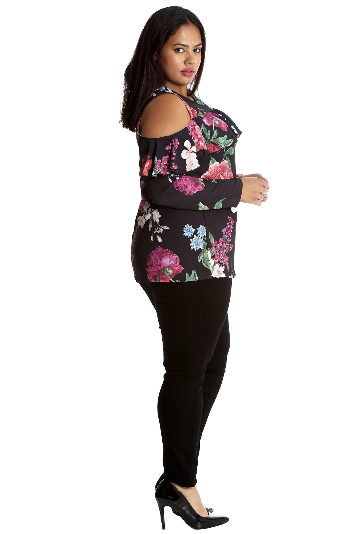 New Womens Plus Size Top Floral Print Ladies Frill Tunic Cold Shoulder Nouvelle