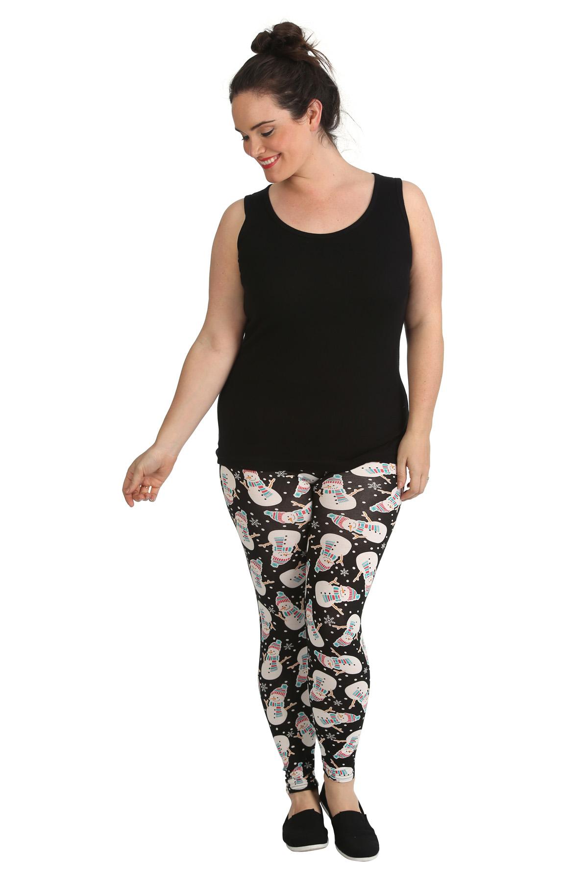 Womens Leggings Plus Size Ladies Snowman Print Christmas Full Length Nouvelle