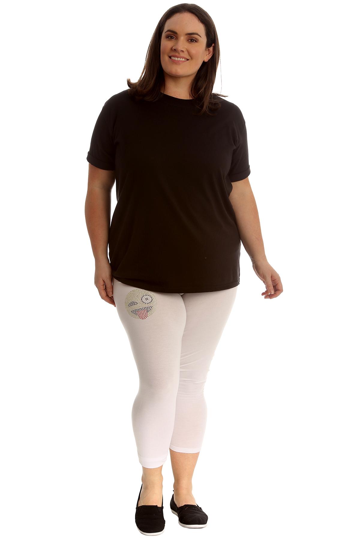 Nuevo mujeres más tamaño leggings Recortada Damas emoji Stud lengua Pantalones Pantalón Suave
