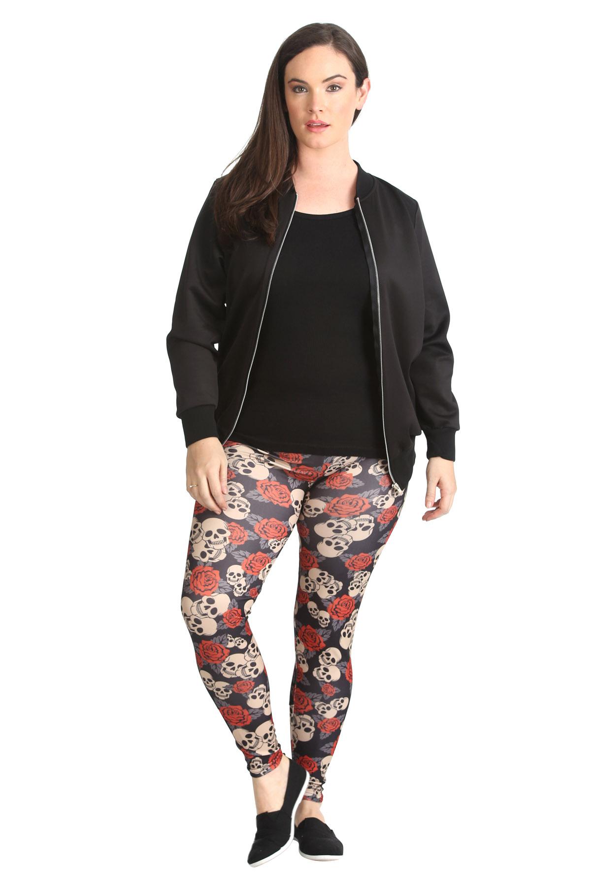 New Ladies Leggings Womens Plus Size Skull & Rose Print Thick Goth ...