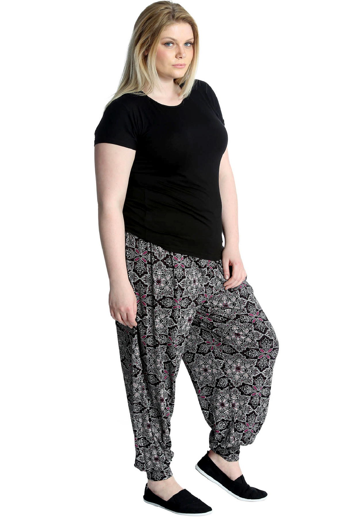 New Women Harem Plus Size Ladies Ali Baba Moroccan Print Cuffed Trouser Nouvelle