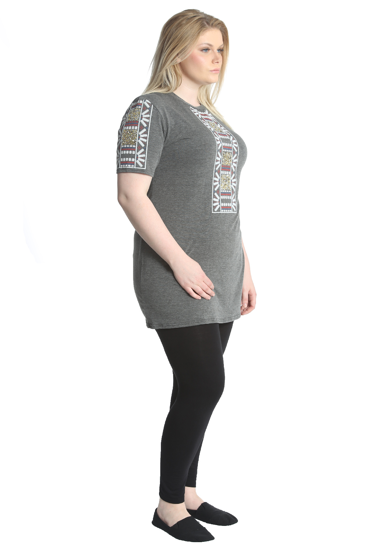 New Ladies Plus Size Tops Womens Tunic Embroidery Sequin ...
