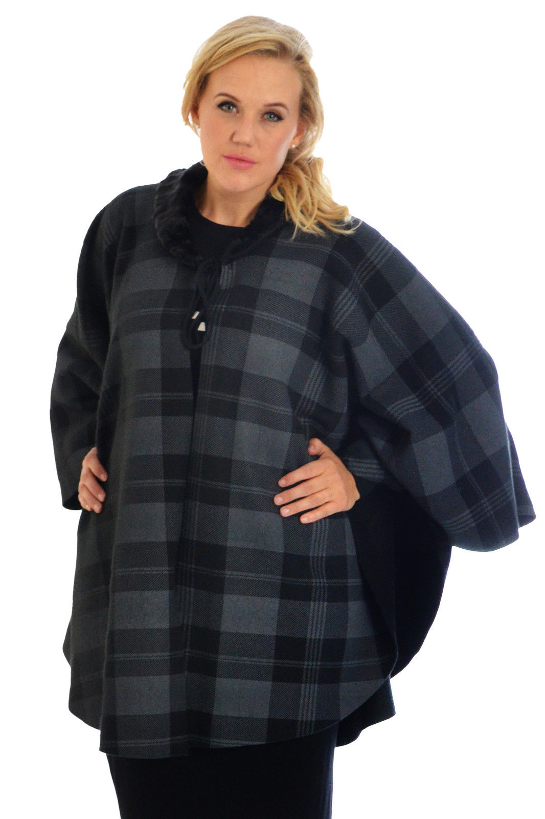 New Womens Poncho Ladies Cardigan Tartan Cape Faux Fur ...