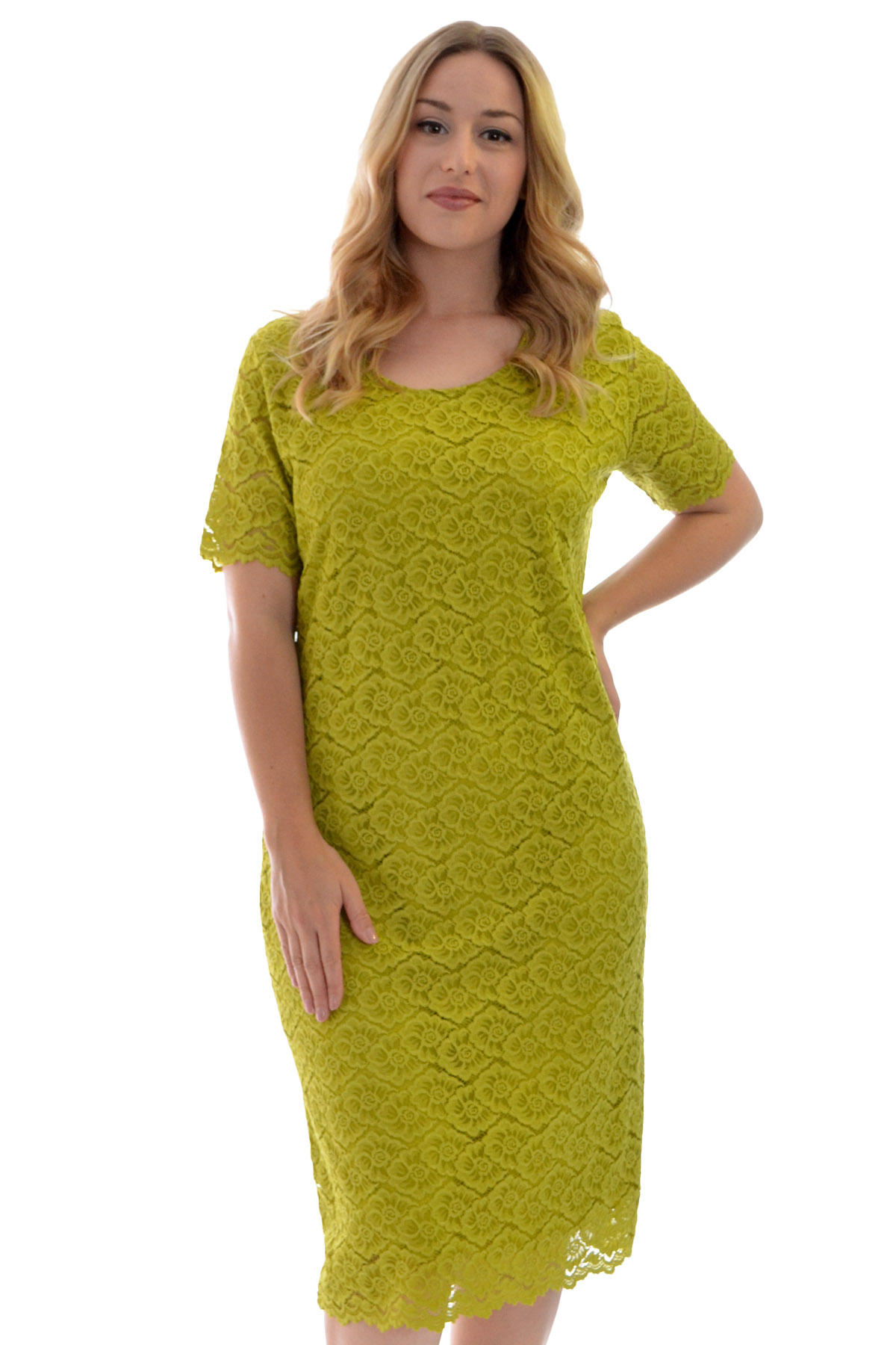New Womens Dress Ladies Midi Tunic Floral Lace Short ...