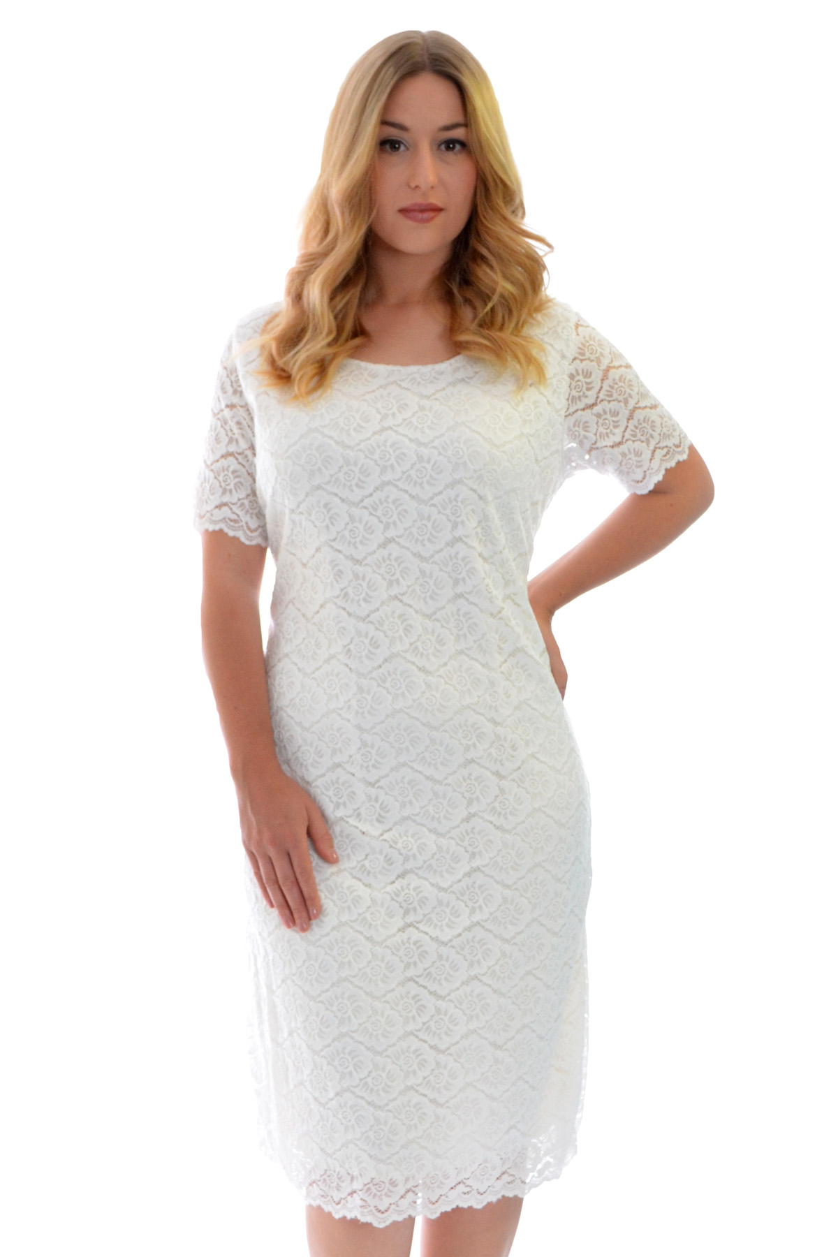 New Ladies Dress Womens Midi Tunic Floral Lace Short ...