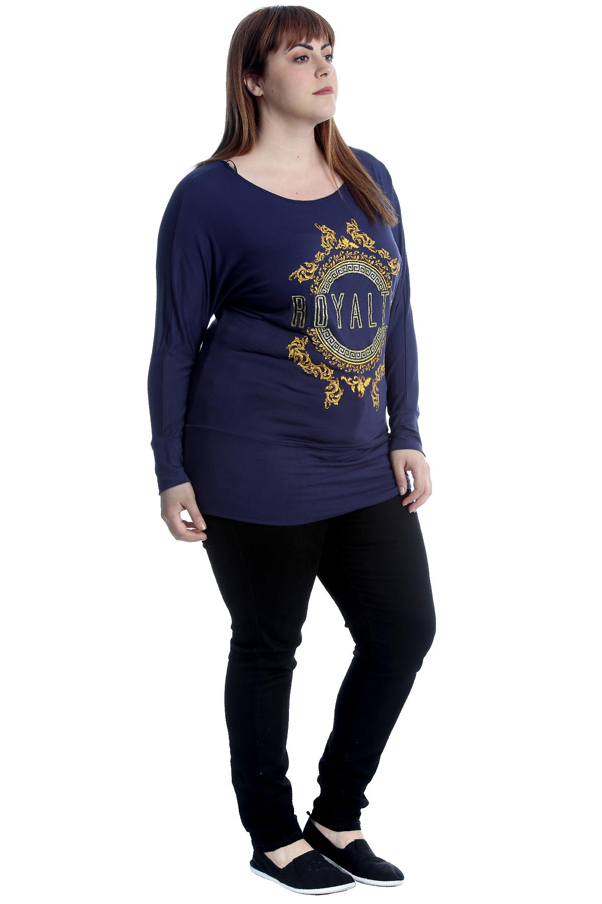 Neue Frauen Übergröße Top Dame Königlich Druck Fledermaus T-Shirt Sale Elastisch
