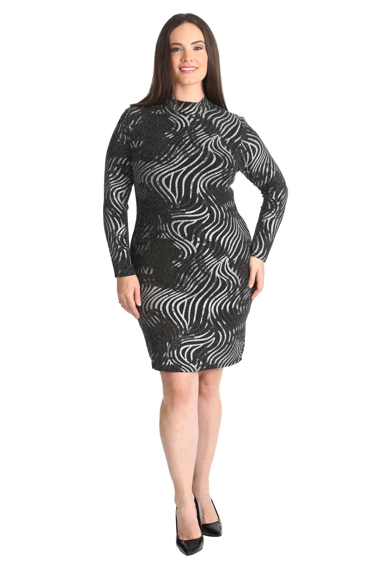 New Ladies Plus Size Midi Dress Lurex Glitter Polo Neck Bodycon