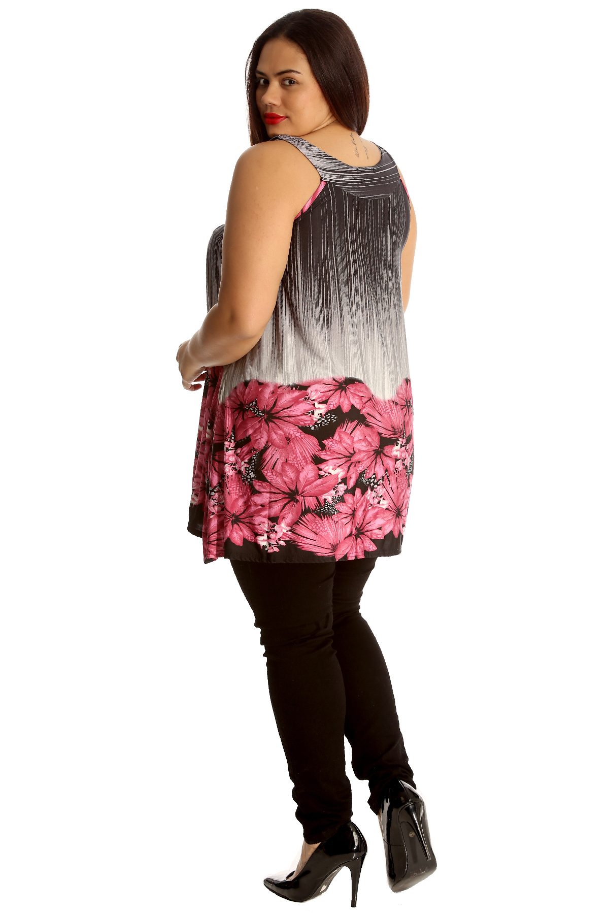 Details about  /New Womens Plus Size Top Studded Neck Flower Sleeveless Long Tunic Nouvelle