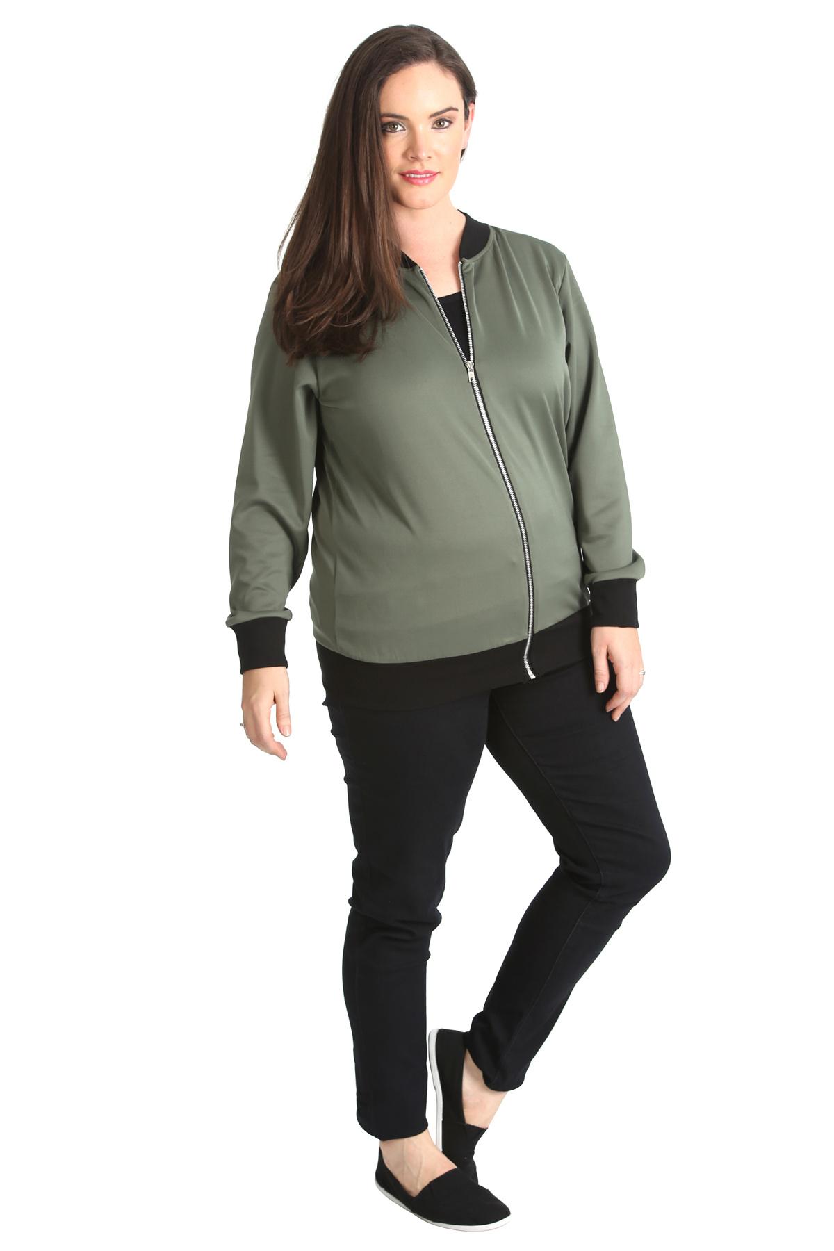 New Womens Plus Size Bomber Jacket Ladies Plain Ribbed ...