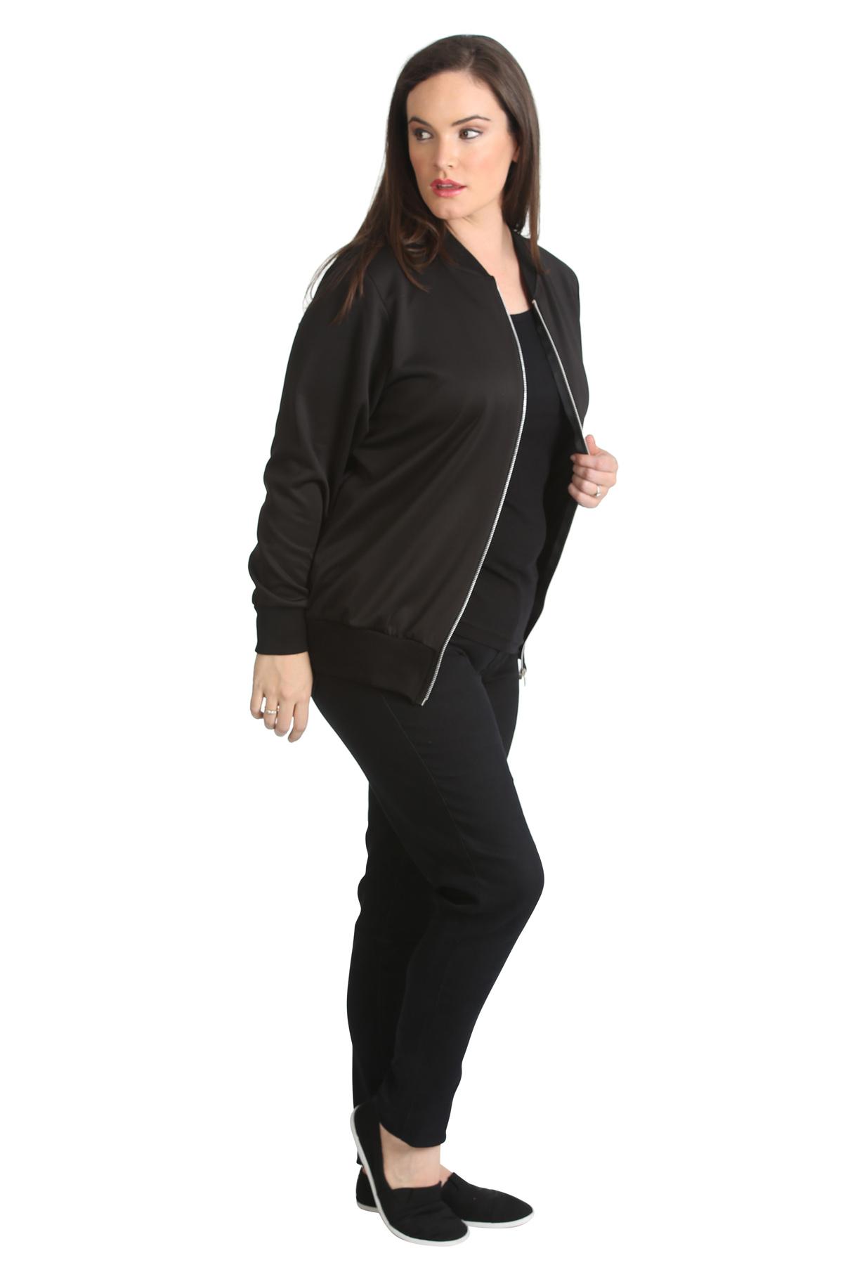 New Ladies Plus Size Bomber Jacket Womens Plain Ribbed ...