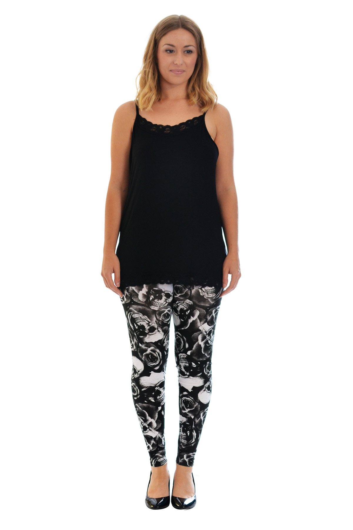 New Womens Leggings Plus Size Ladies Skulls and Roses Trouser Tattoo Nouvelle