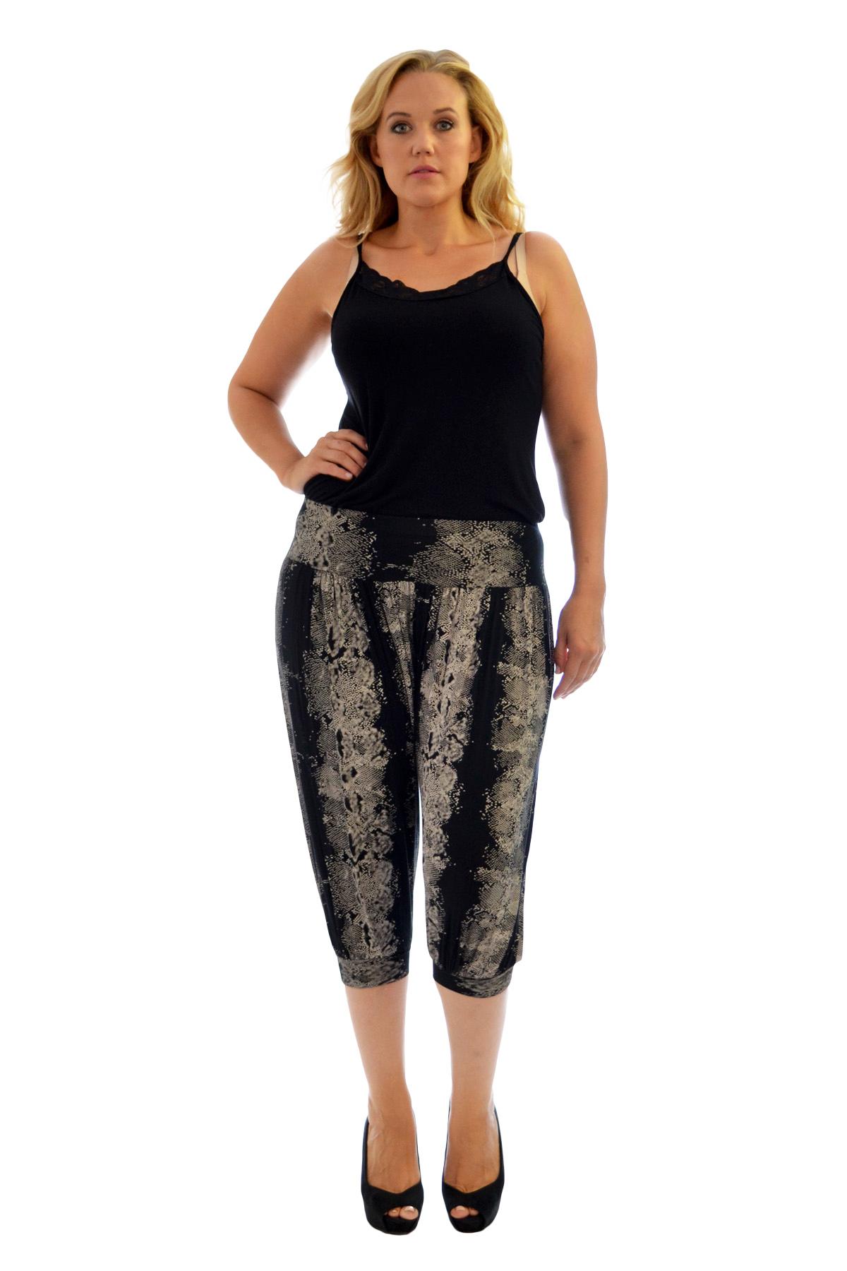 Womens Harem Trouser Plus Size Ladies Cropped Snake Skin Print Ali Baba Nouvelle