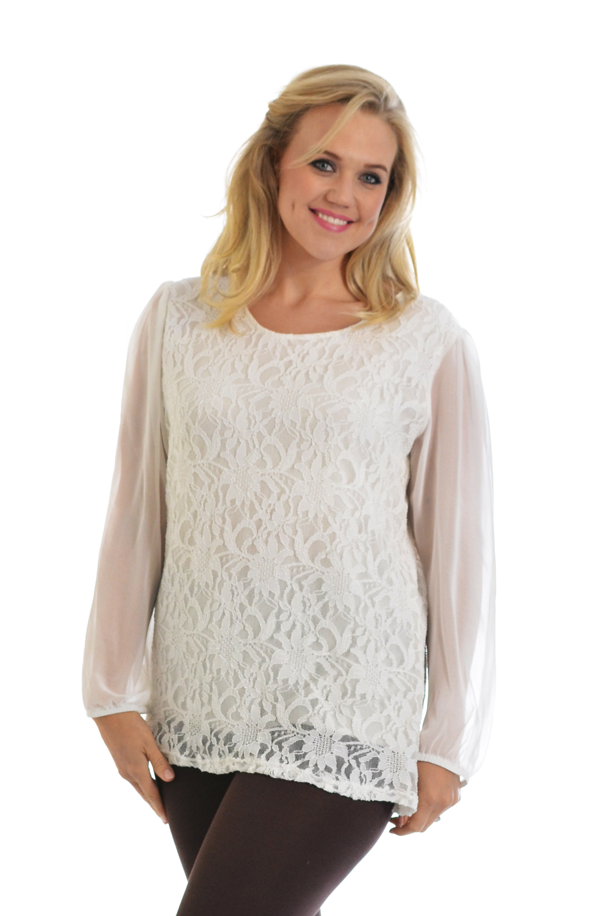 Womens New Lace Top Plus Size Ladies Chiffon Party Arm ...