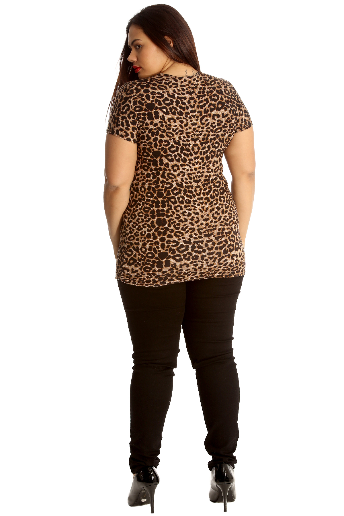 Neu Damen Übergröße Hemd Frau Top Leopard Drucken T-Shirt Tunika Tier Nouvelle